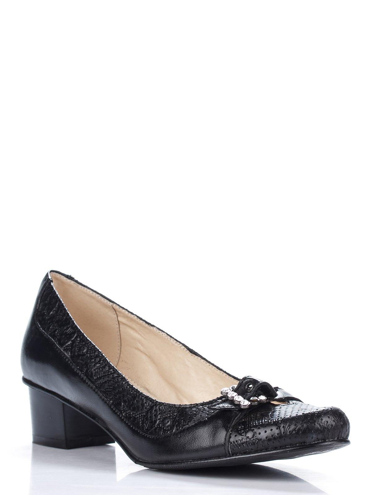 Туфлі чорні перфоровані з декором | 1728327