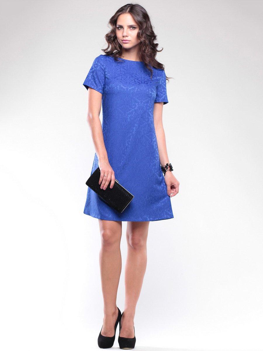 Платье цвета электрик в узор | 1734361