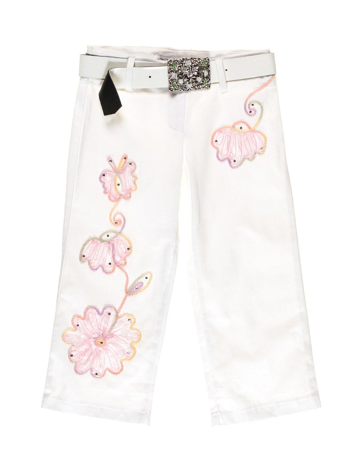 Капрі білі з квітковим принтом | 1076856