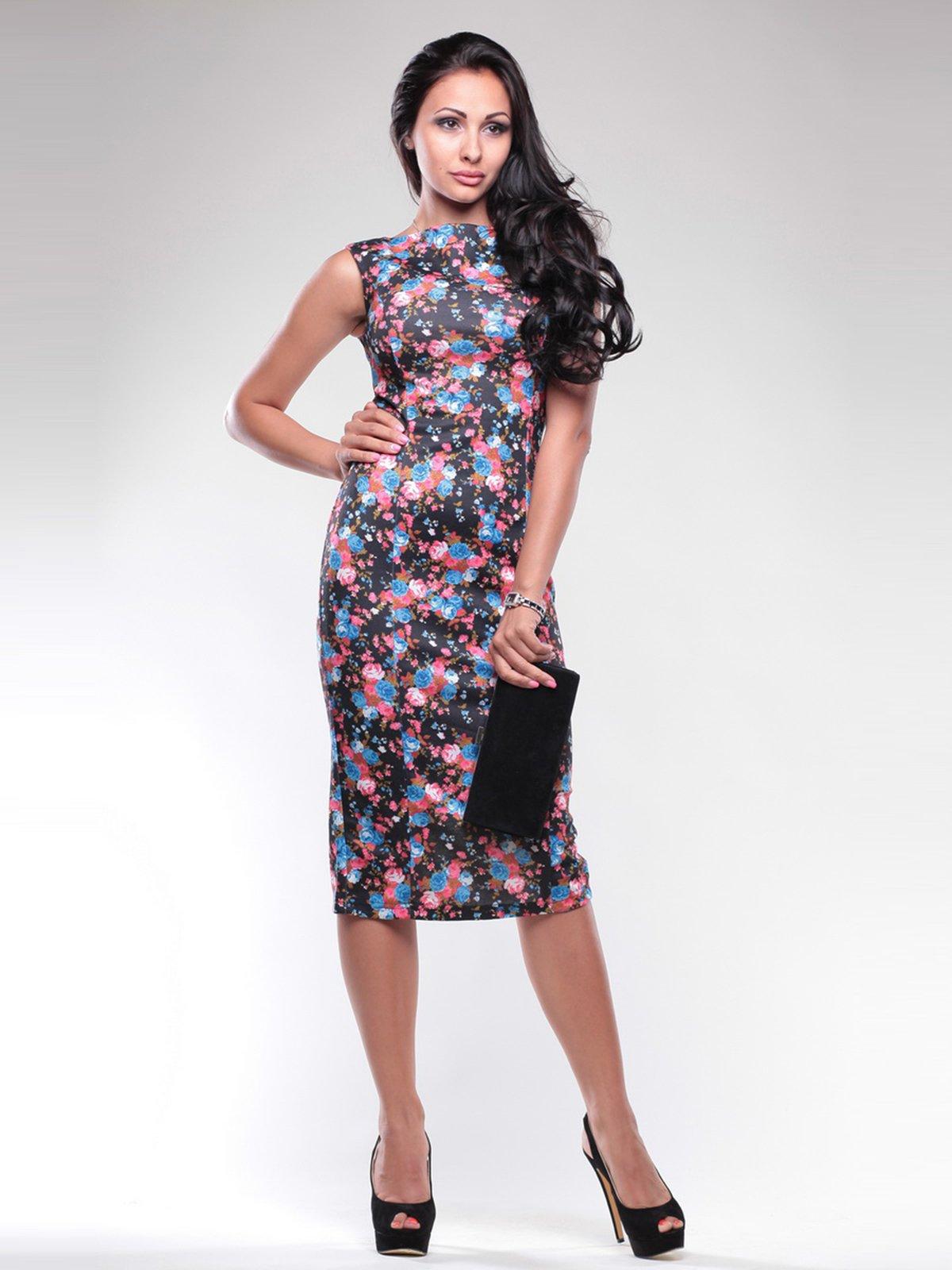 Сукня чорна в квітковий принт | 1741555