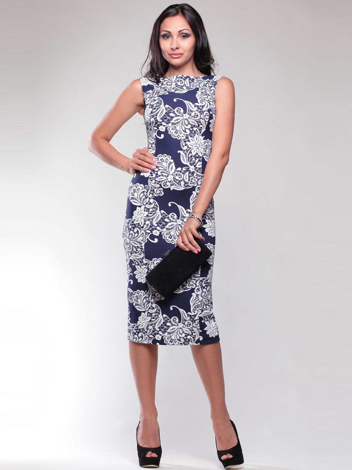 Сукня синьо-біла в принт | 1741564