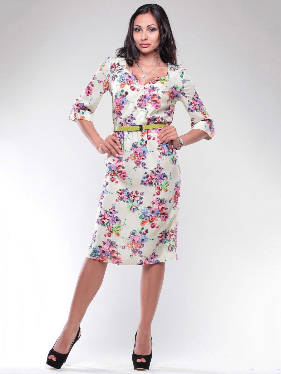 Платье белое в цветочный принт | 1746838