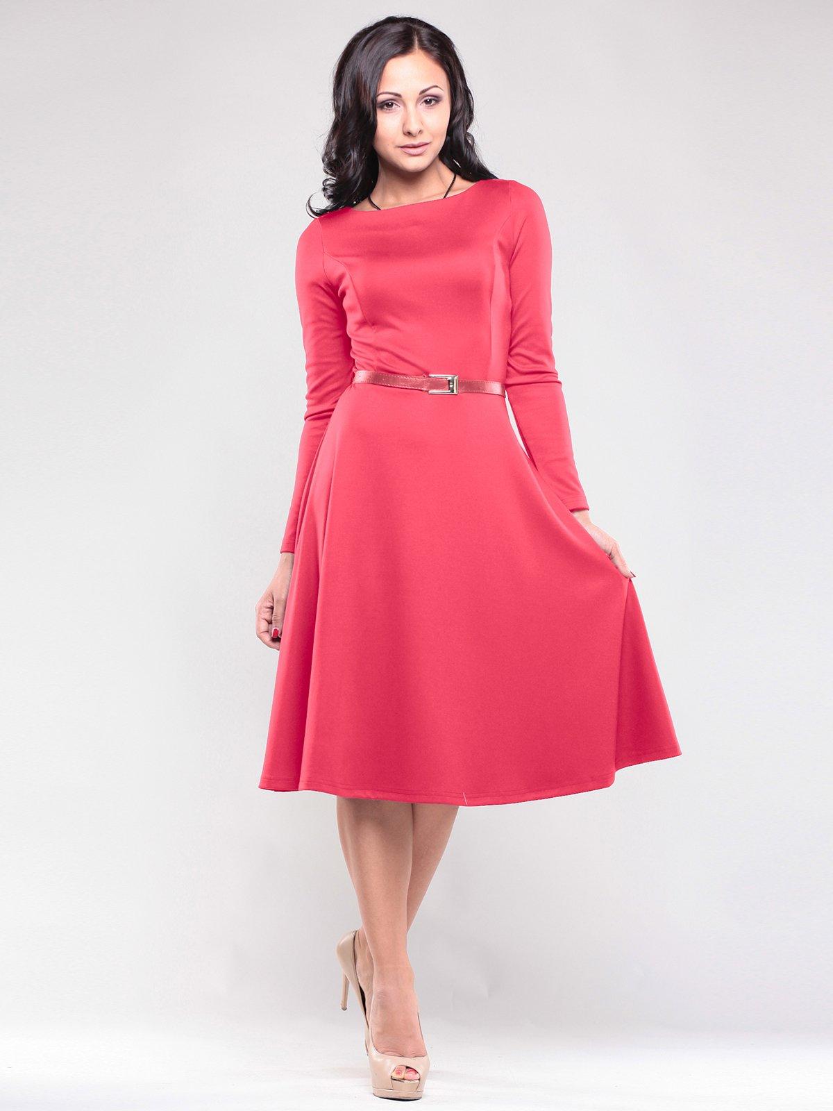 Платье красное с поясом | 1763014