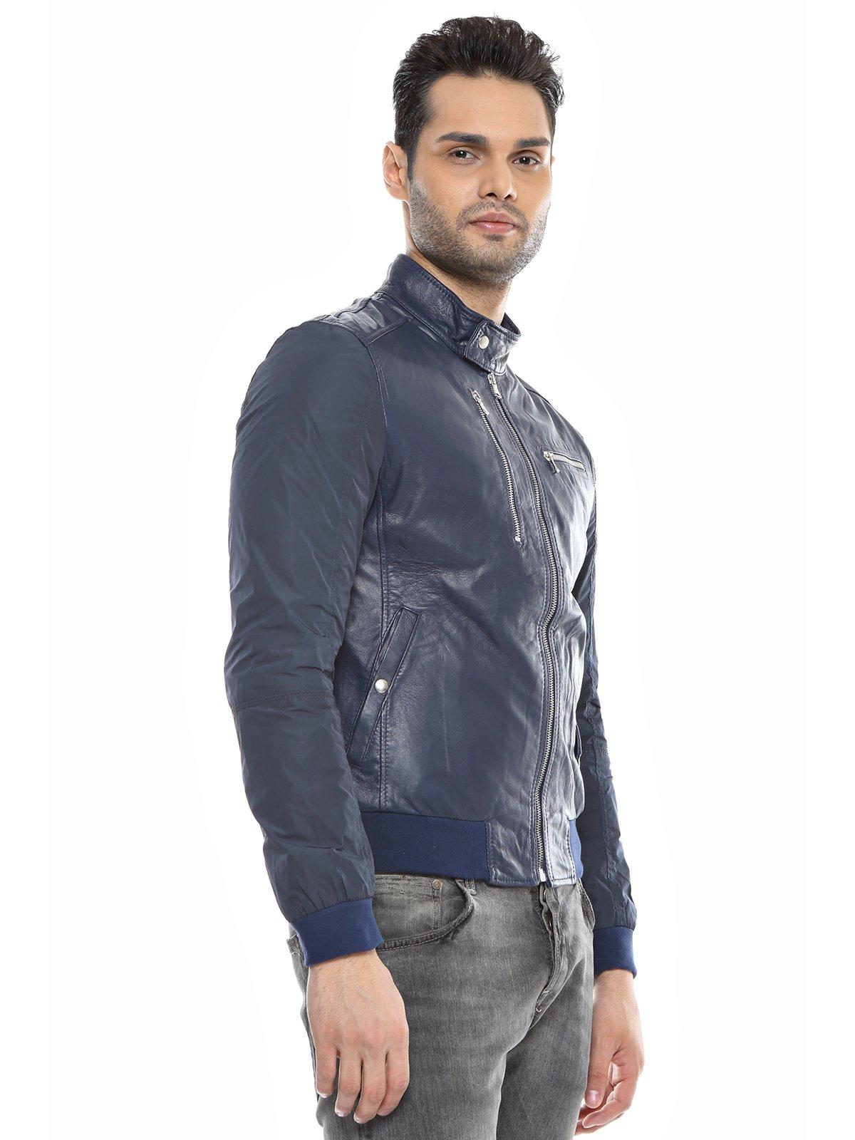 Куртка темно-синяя комбинированная | 1576411 | фото 2