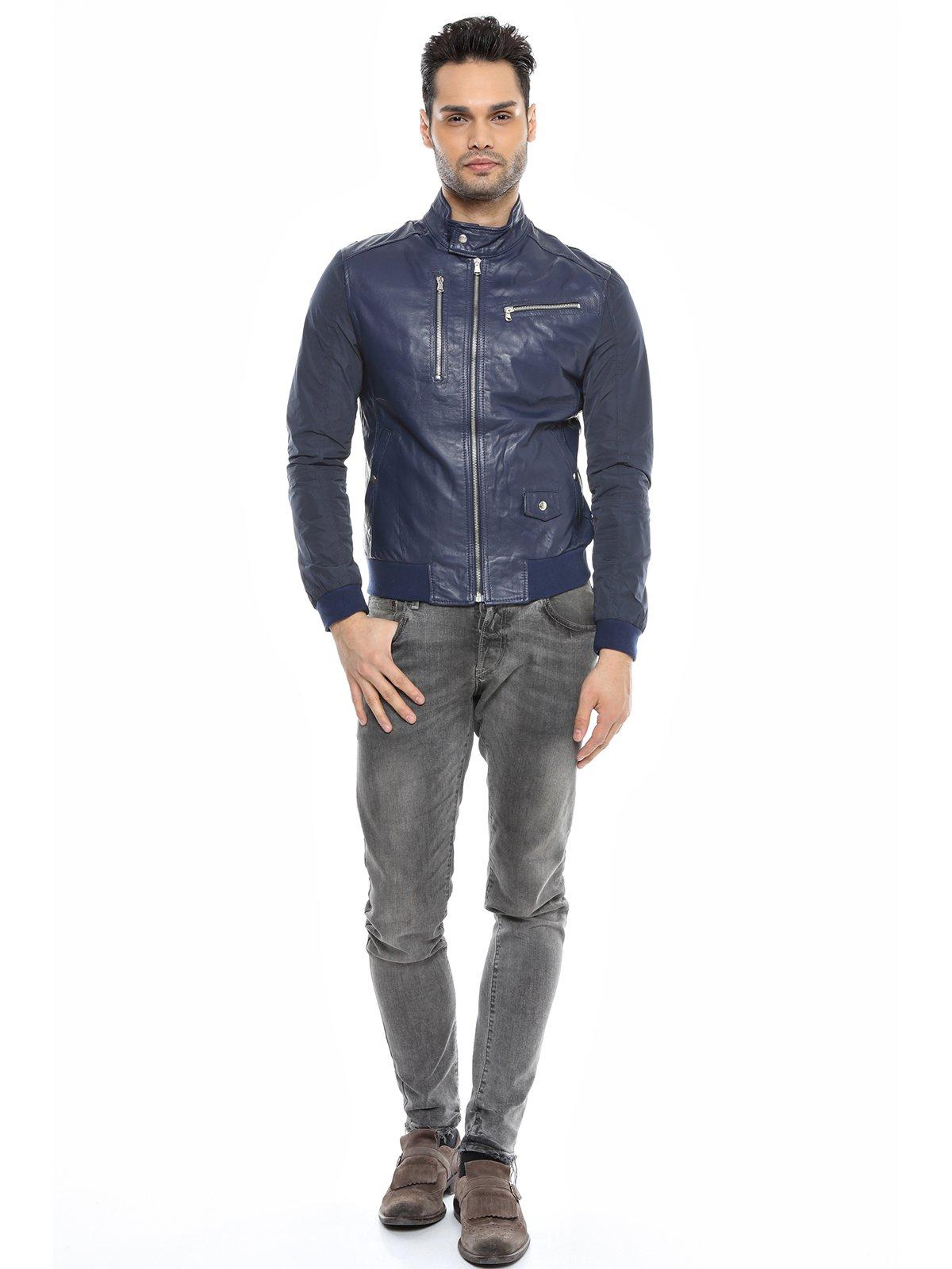 Куртка темно-синяя комбинированная | 1576411 | фото 4