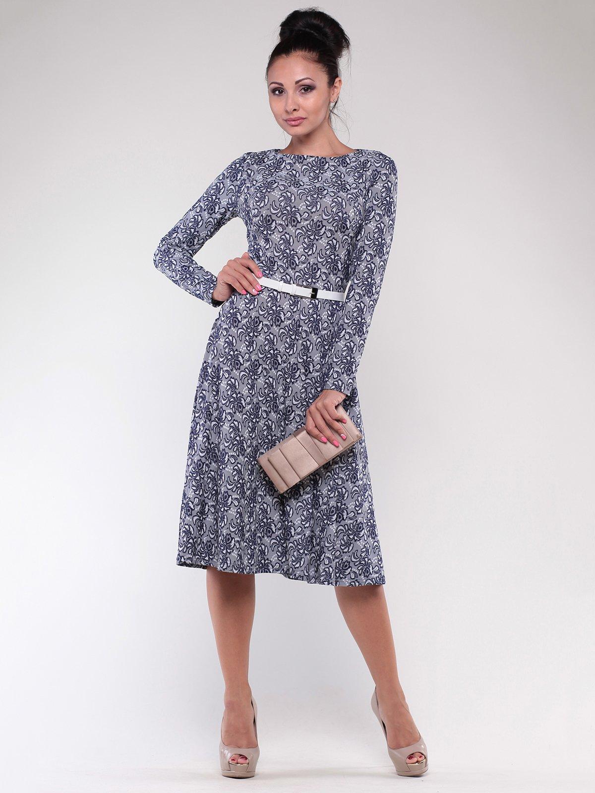 Сукня сіро-синя в принт | 1801189
