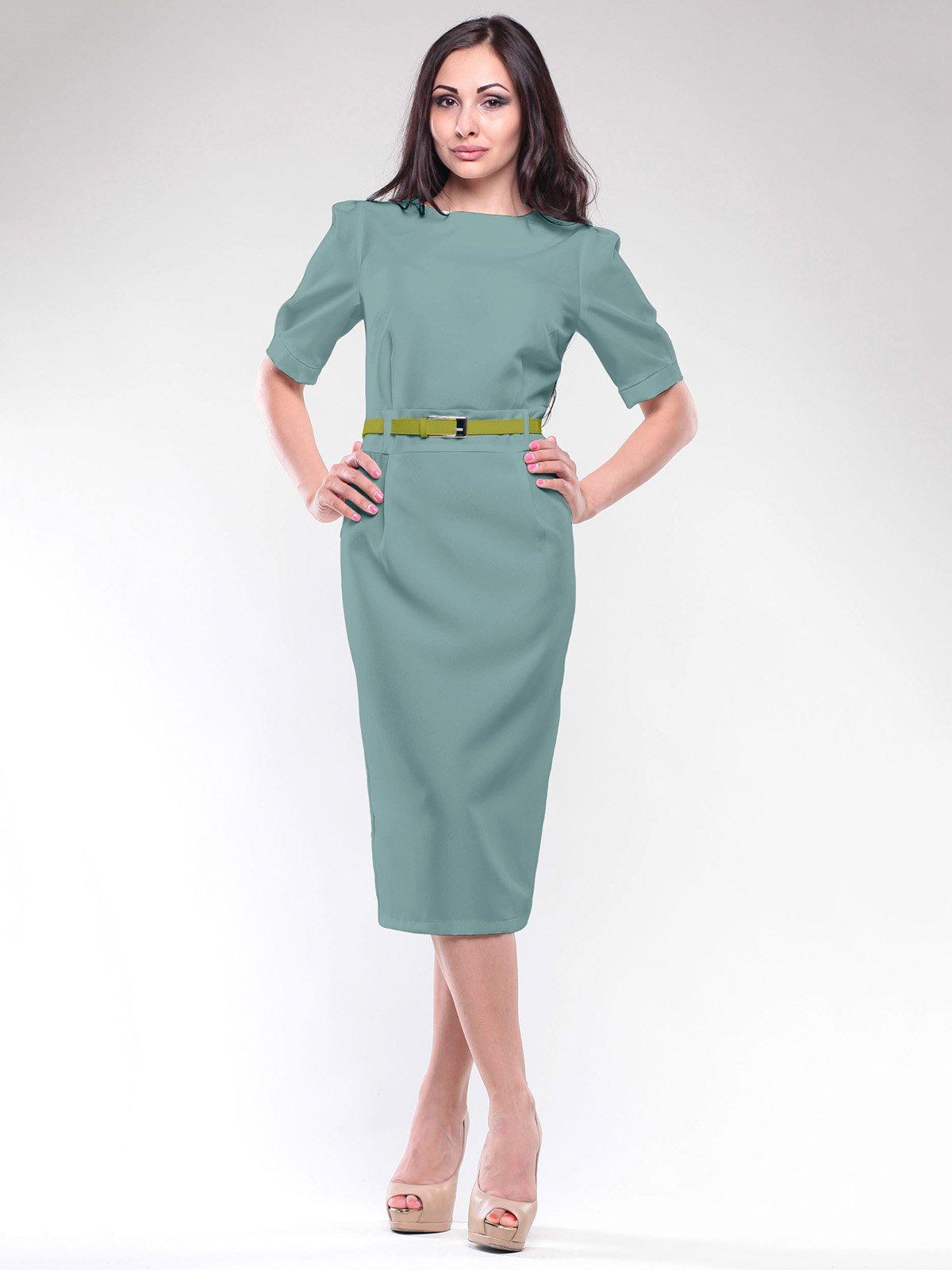 Сукня оливкового кольору з поясом | 1806429