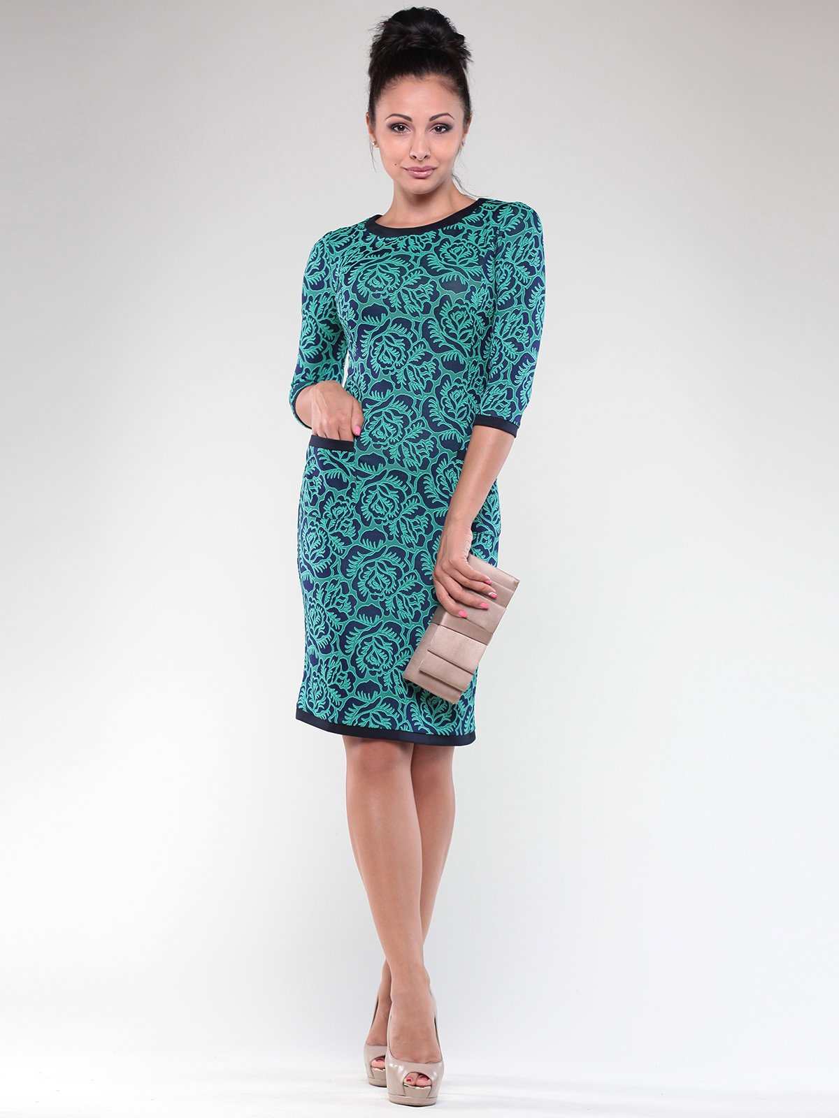 Сукня синьо-зелена в принт | 1822314
