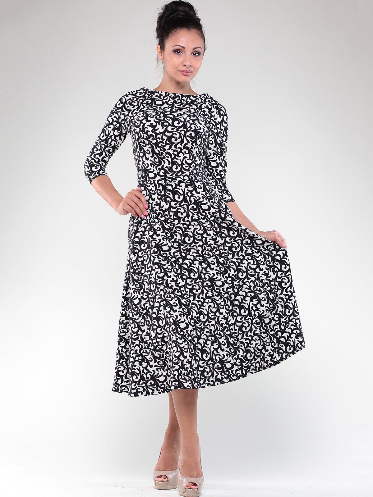 Платье черно-белое в принт   1822778