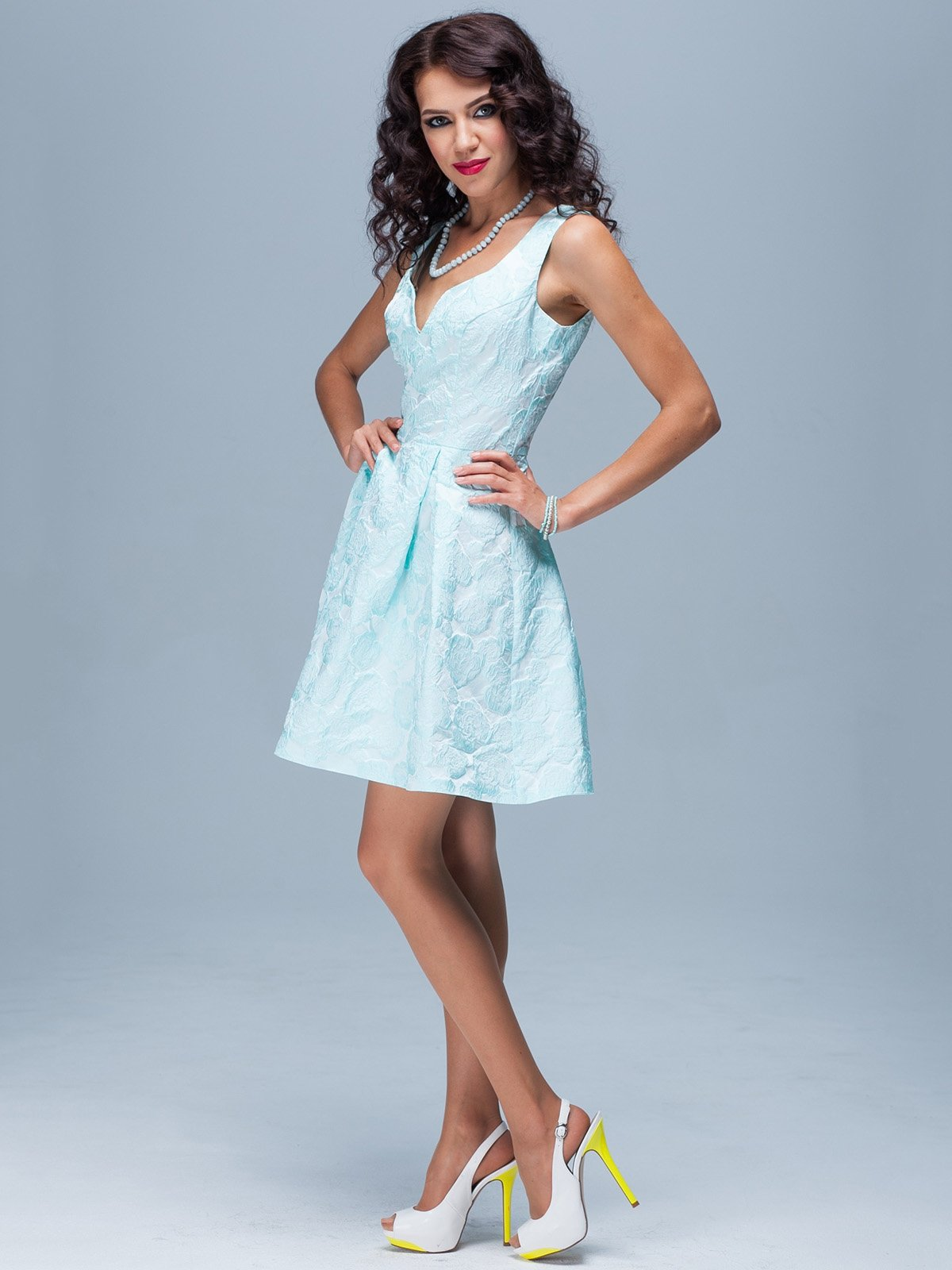 Платье светло-бирюзовое в цветочный рисунок | 1828147