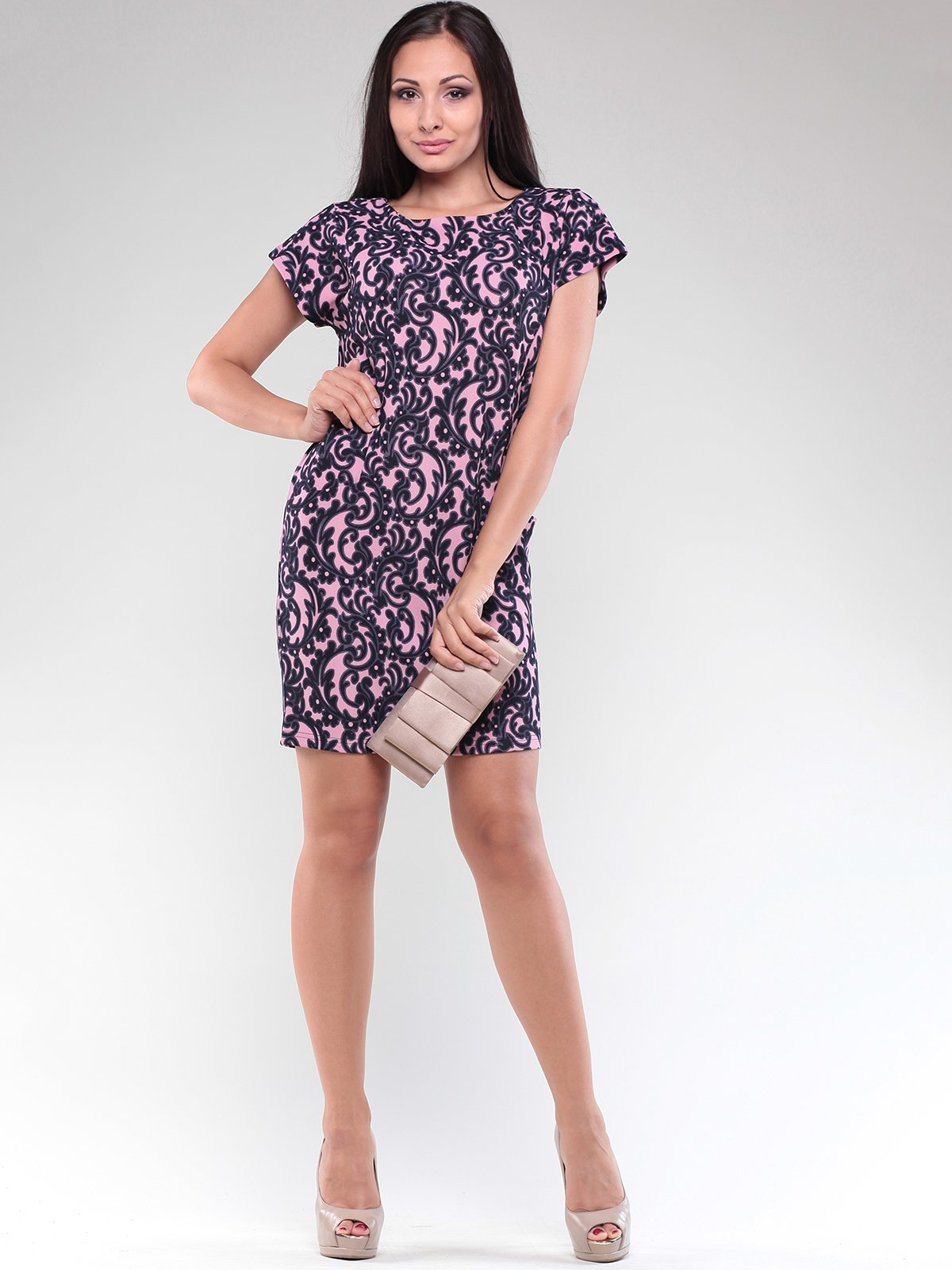 Платье черно-розовое в принт | 1832220