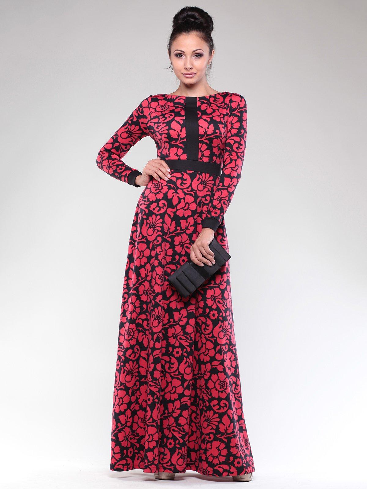 Сукня чорно-червона в квітковий принт | 1832293