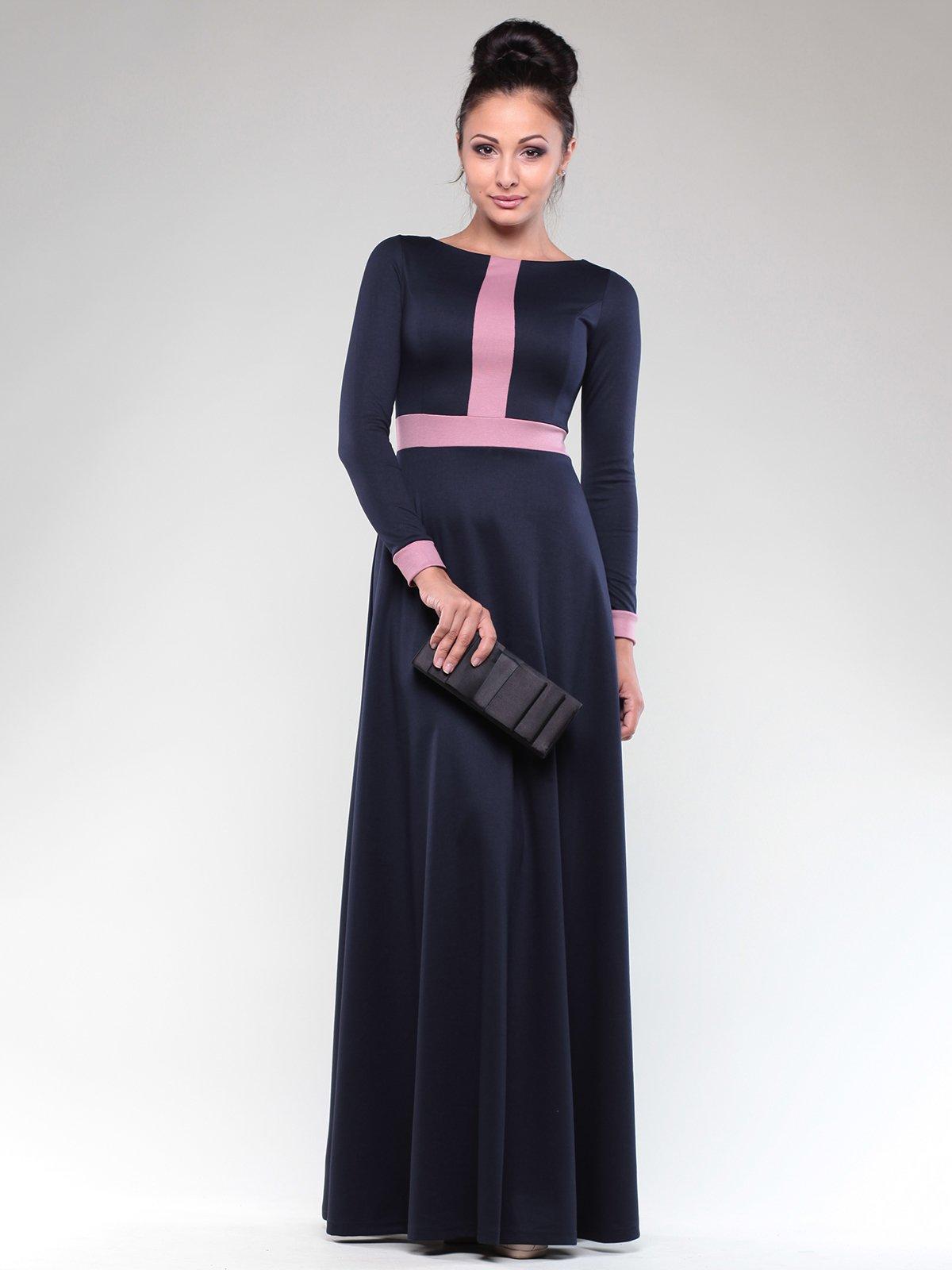 Сукня темно-синя з контрастним оздоблення | 1832297