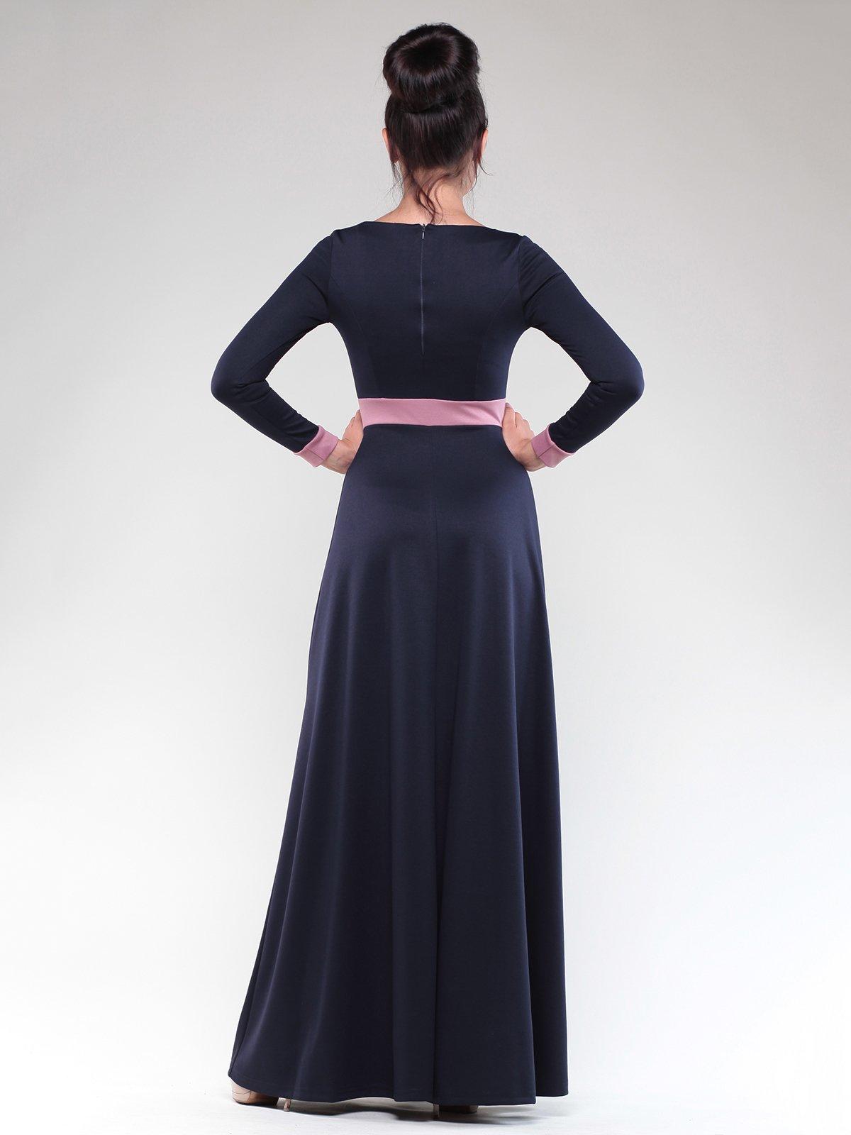 Платье темно-синее с контрастной отделкой   1832297   фото 2