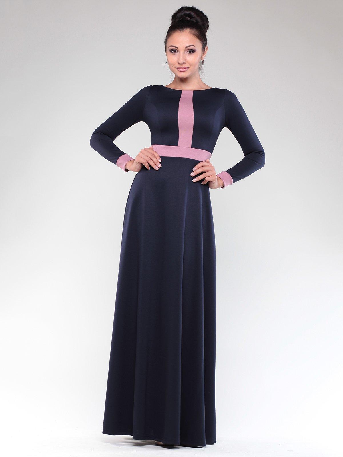 Платье темно-синее с контрастной отделкой   1832297   фото 4