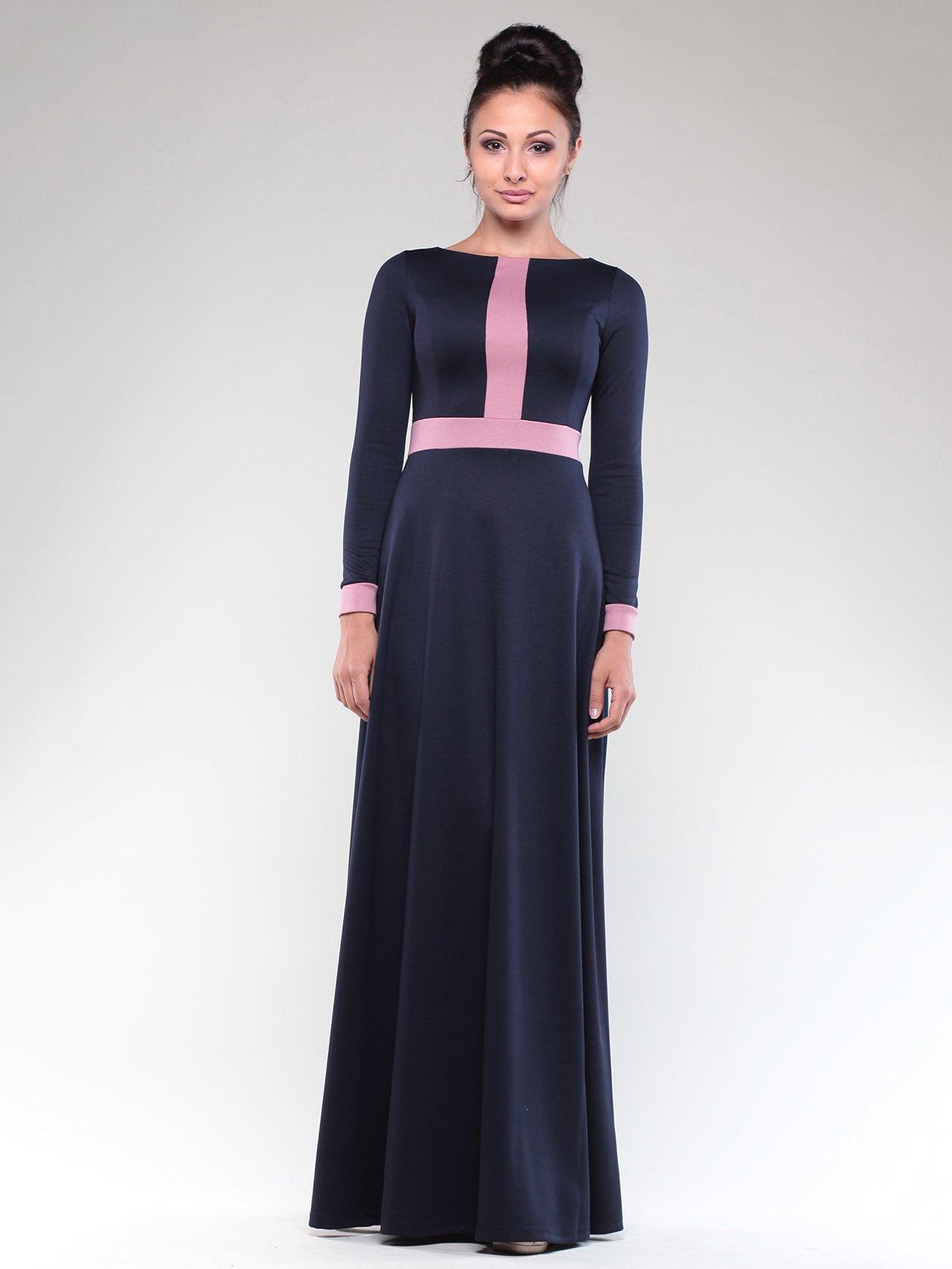 Платье темно-синее с контрастной отделкой   1832297   фото 5