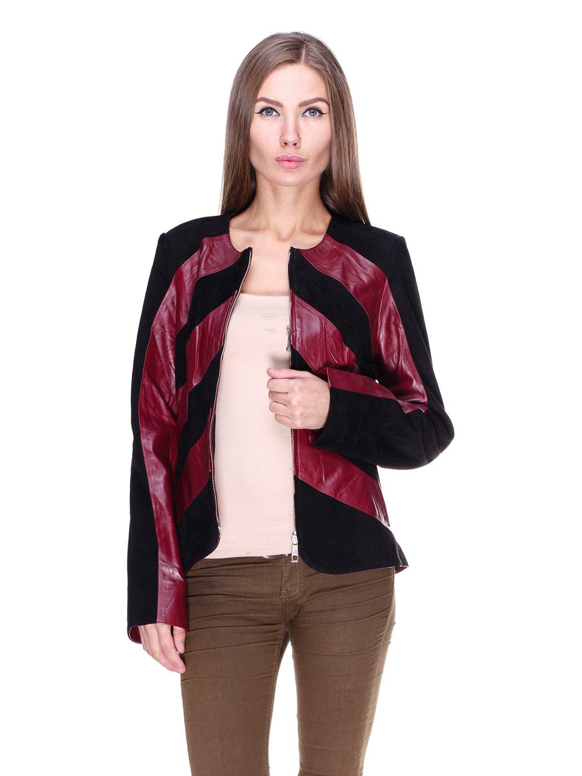 Куртка бордово-чорна комбінована | 1830304