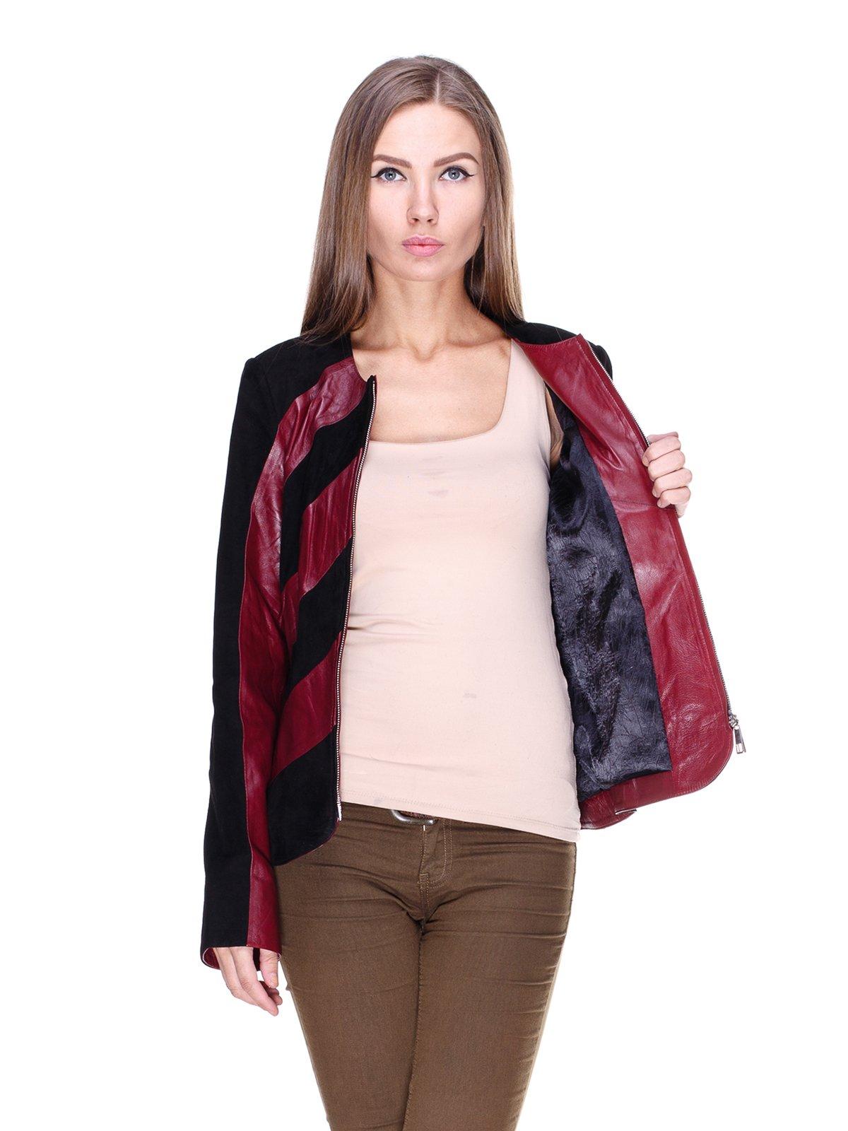 Куртка бордово-чорна комбінована | 1830304 | фото 5
