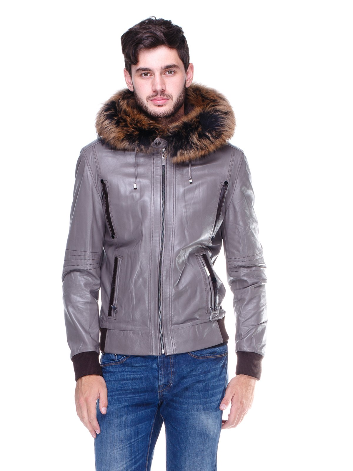 Куртка сіра з оздобленим хутром капюшоном   1830354