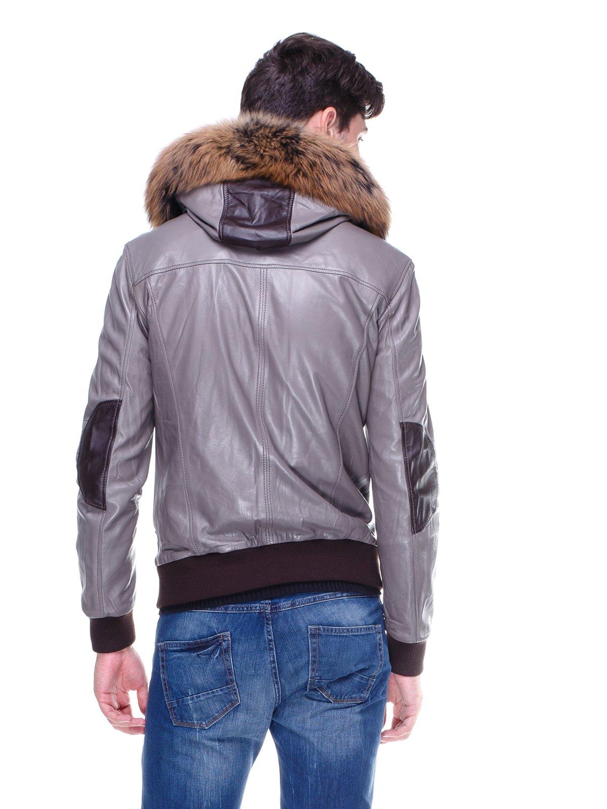 Куртка сіра з оздобленим хутром капюшоном   1830354   фото 2