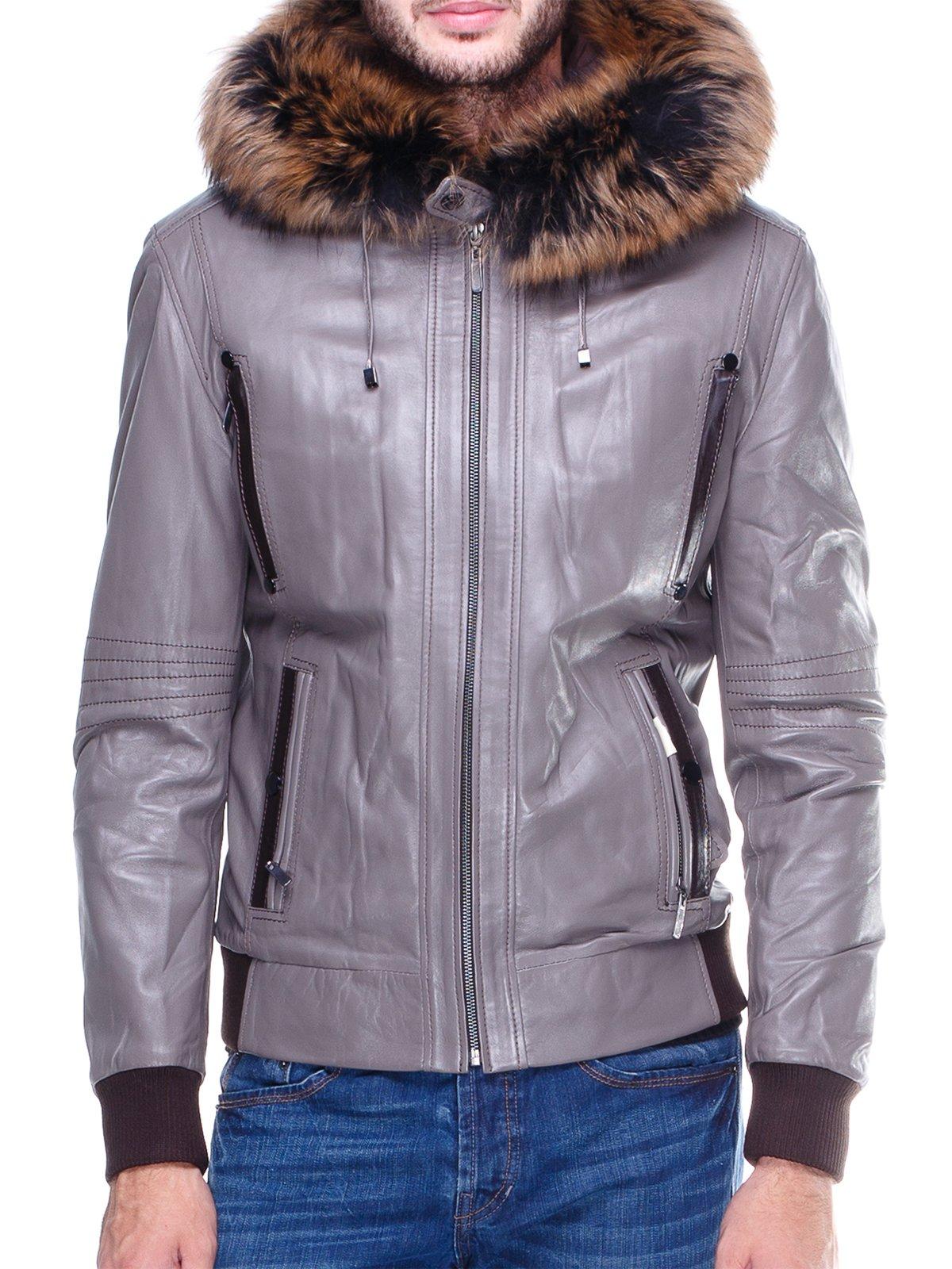 Куртка сіра з оздобленим хутром капюшоном   1830354   фото 3