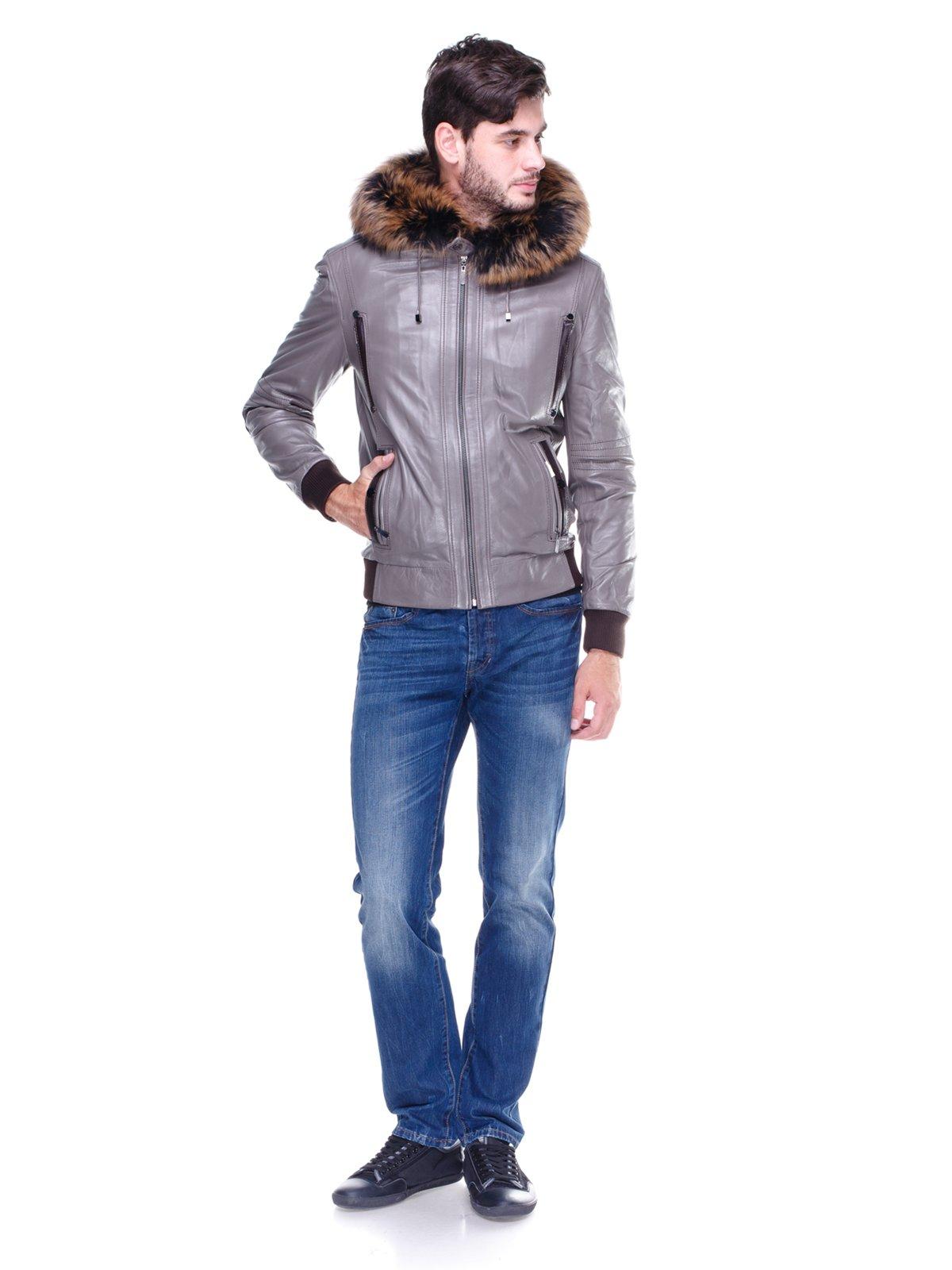 Куртка сіра з оздобленим хутром капюшоном   1830354   фото 4