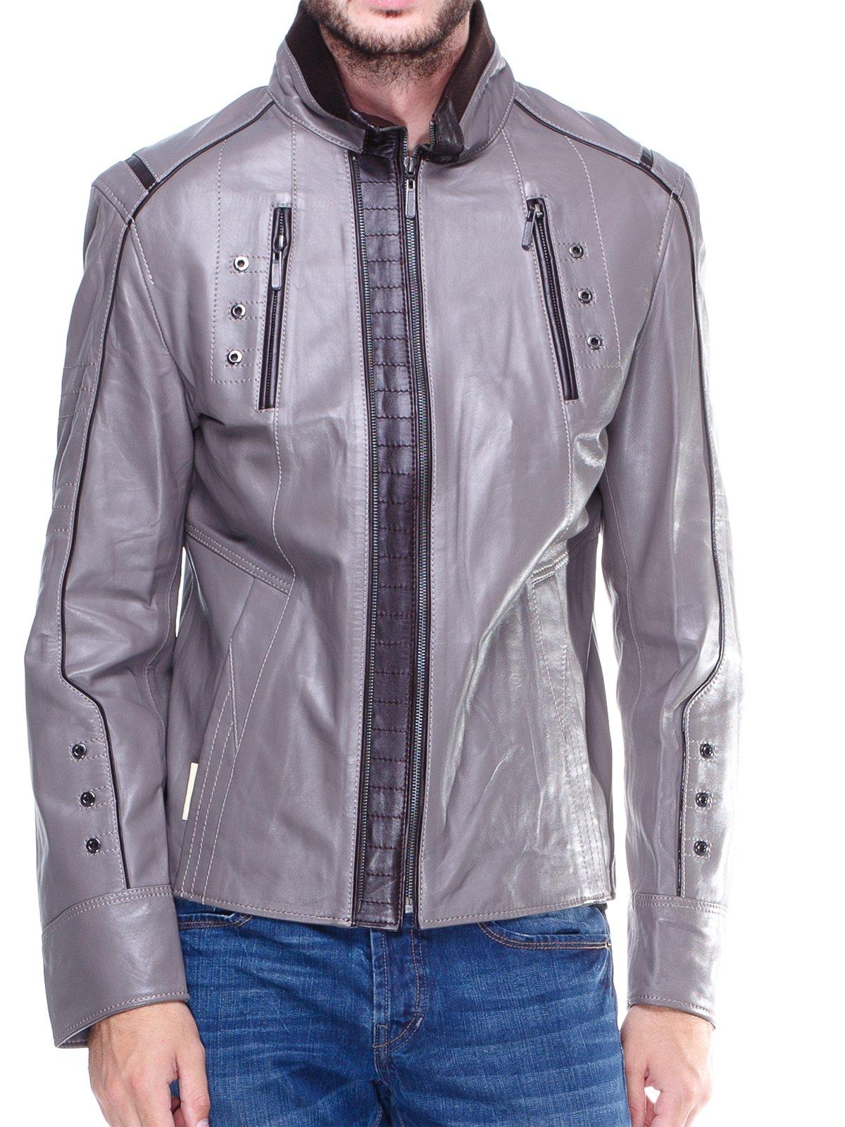 Куртка сіра з контрастним оздобленням і люверсами | 1830342 | фото 3