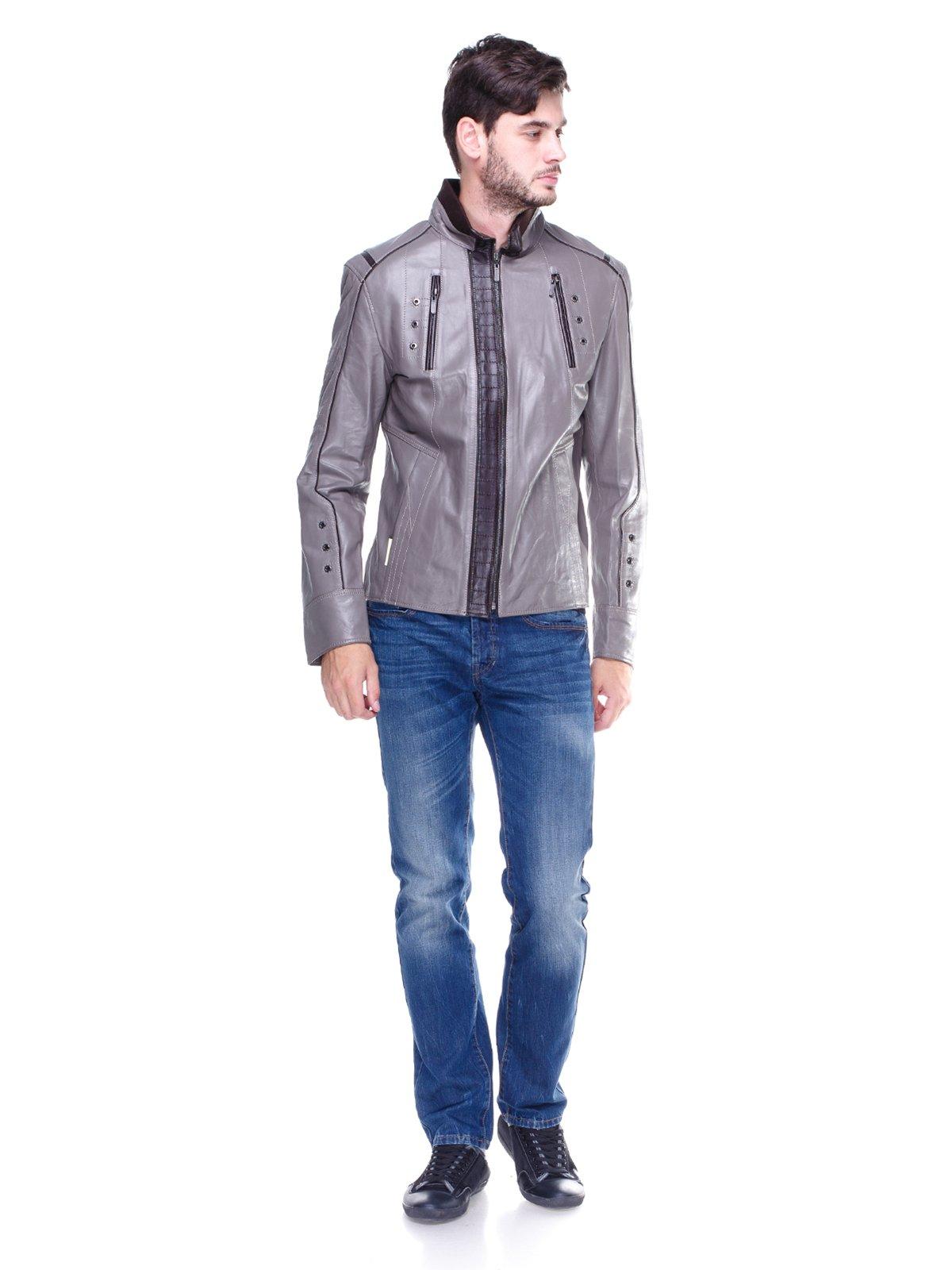 Куртка сіра з контрастним оздобленням і люверсами | 1830342 | фото 4