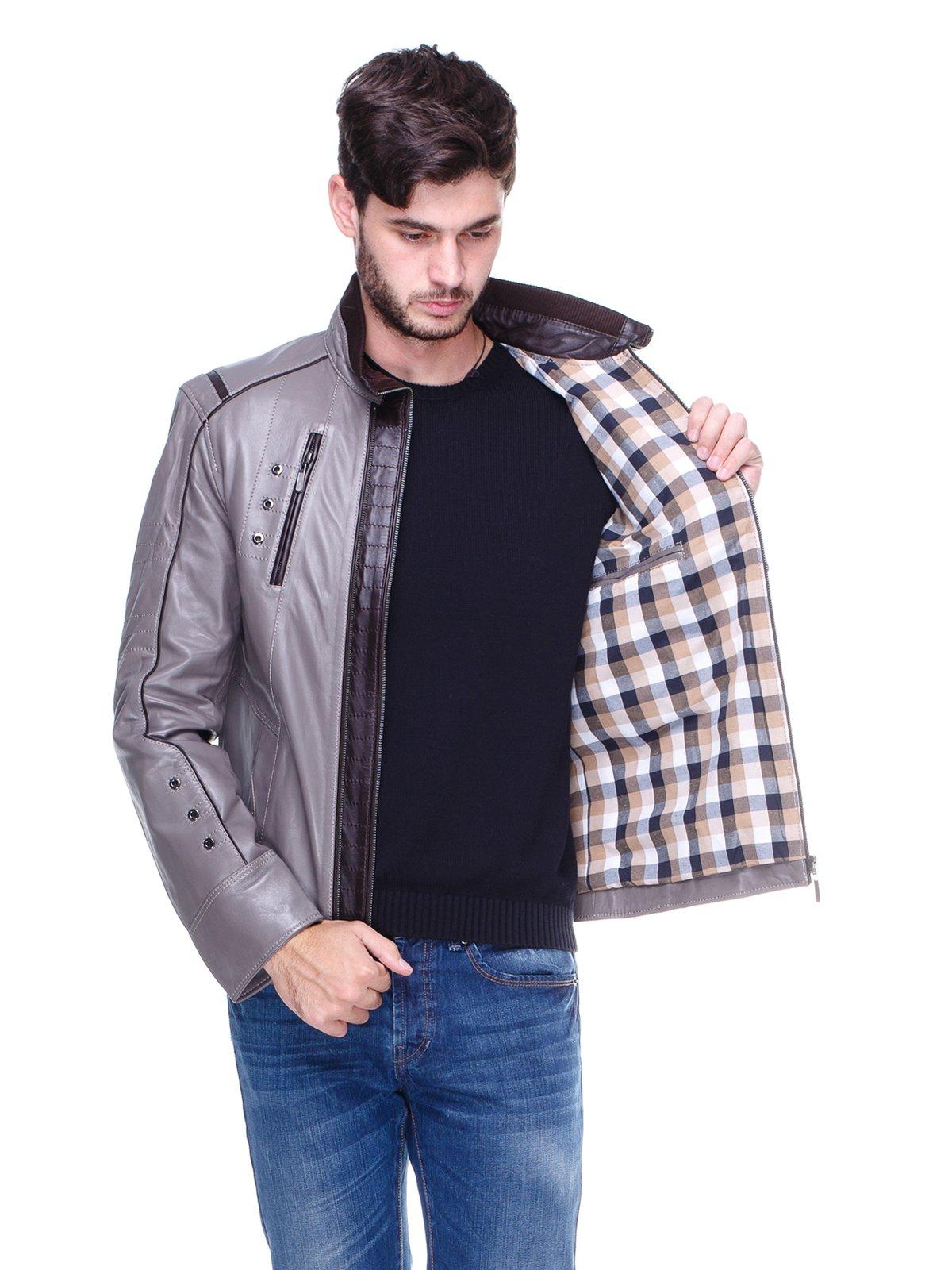 Куртка сіра з контрастним оздобленням і люверсами | 1830342 | фото 5