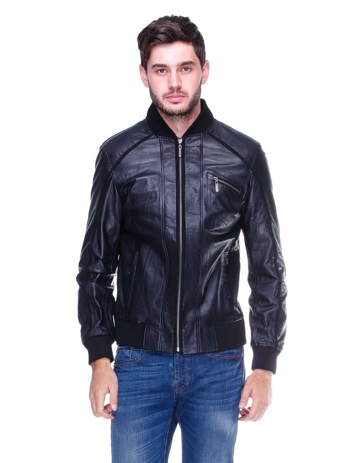 Куртка чорна з перфорацією | 1830332