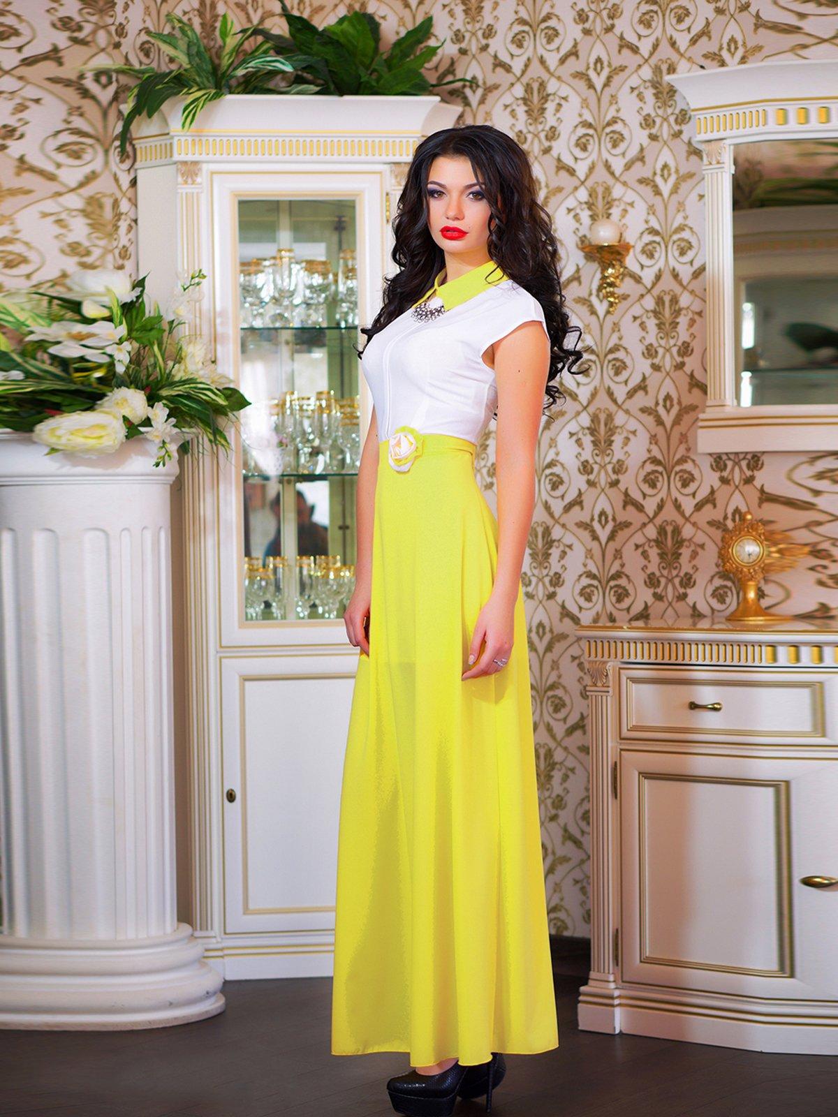 Сукня біло-жовта з квіткою | 1693853 | фото 2