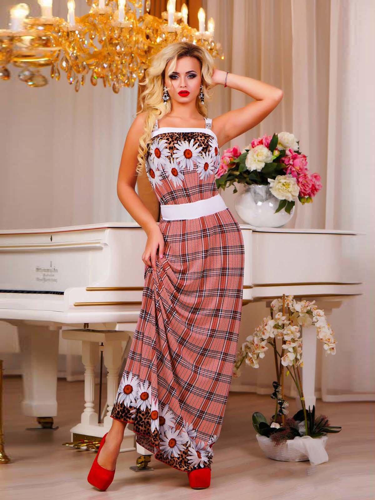 Платье клетчатое с комбинированными принтами | 1728432