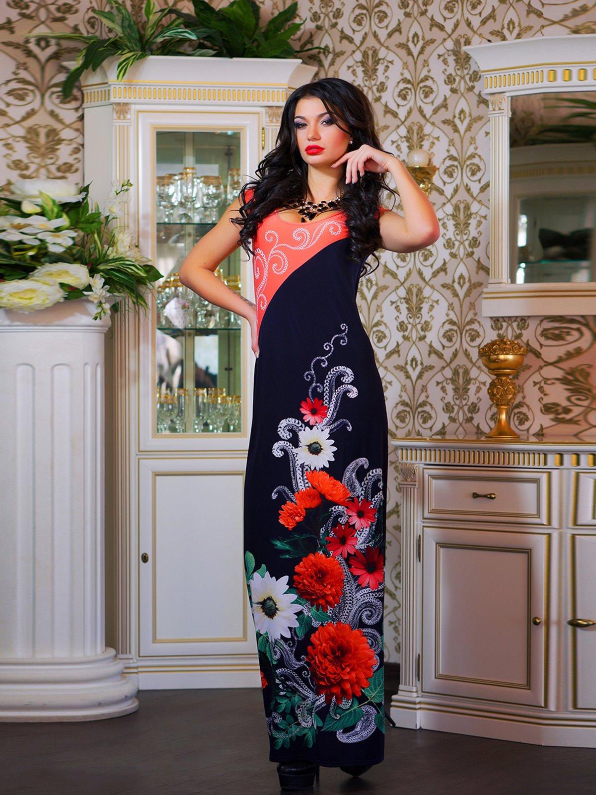 Платье двухцветное с цветочным принтом | 1833758