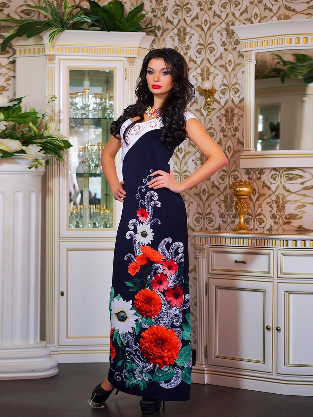 Сукня двоколірна з квітковим принтом | 1833760