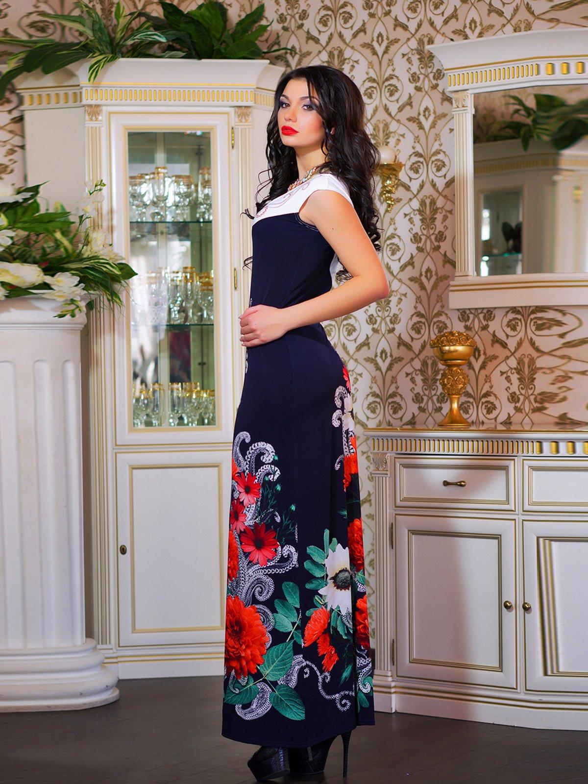 Сукня двоколірна з квітковим принтом | 1833760 | фото 2