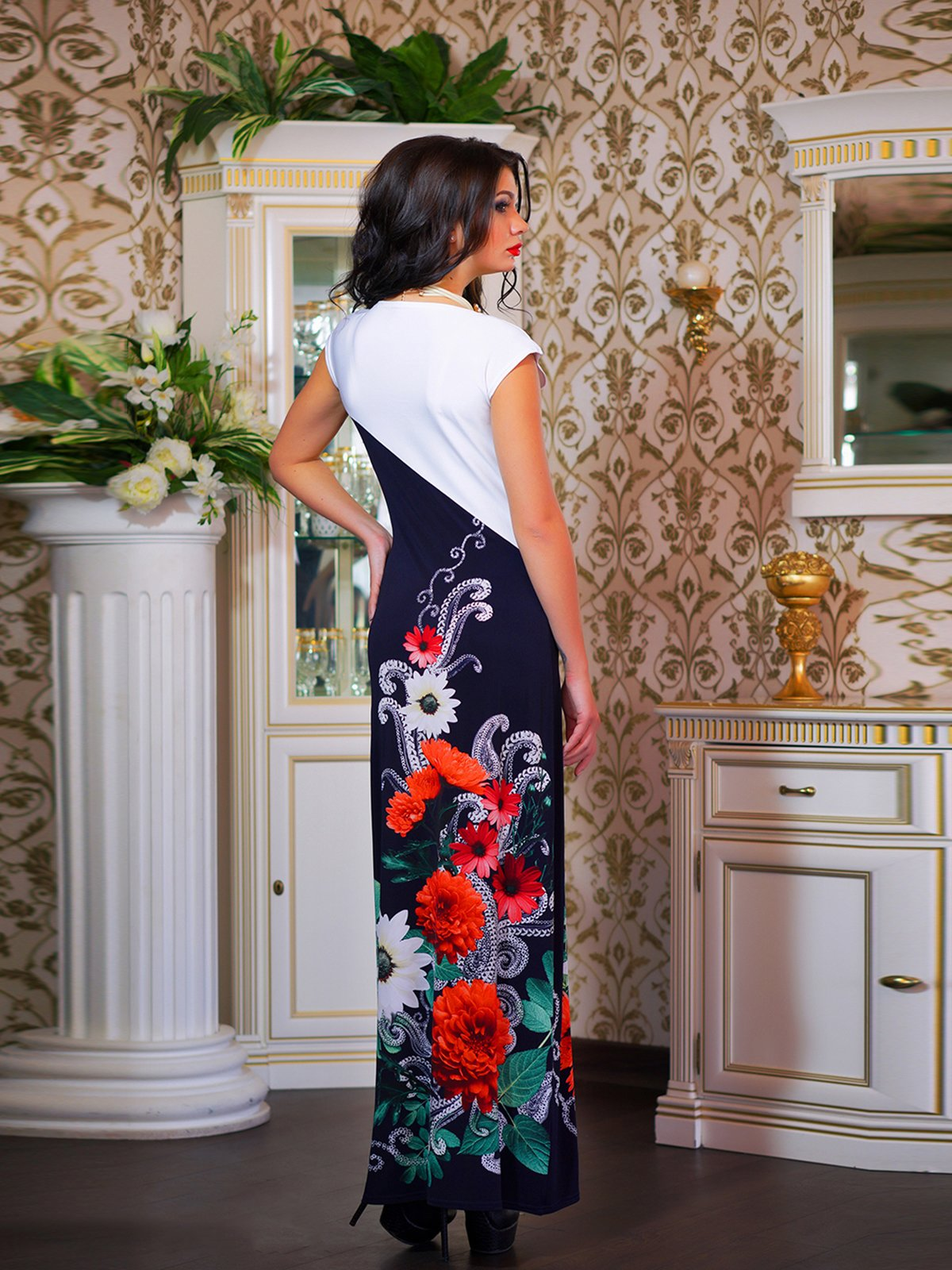 Сукня двоколірна з квітковим принтом | 1833760 | фото 3