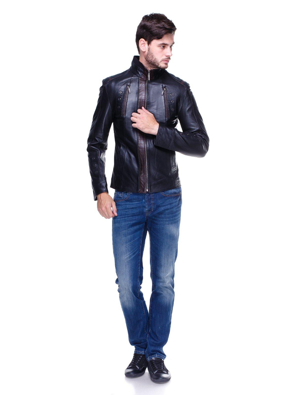 Куртка чорна з контрастним оздобленням і люверсами | 1830340 | фото 4