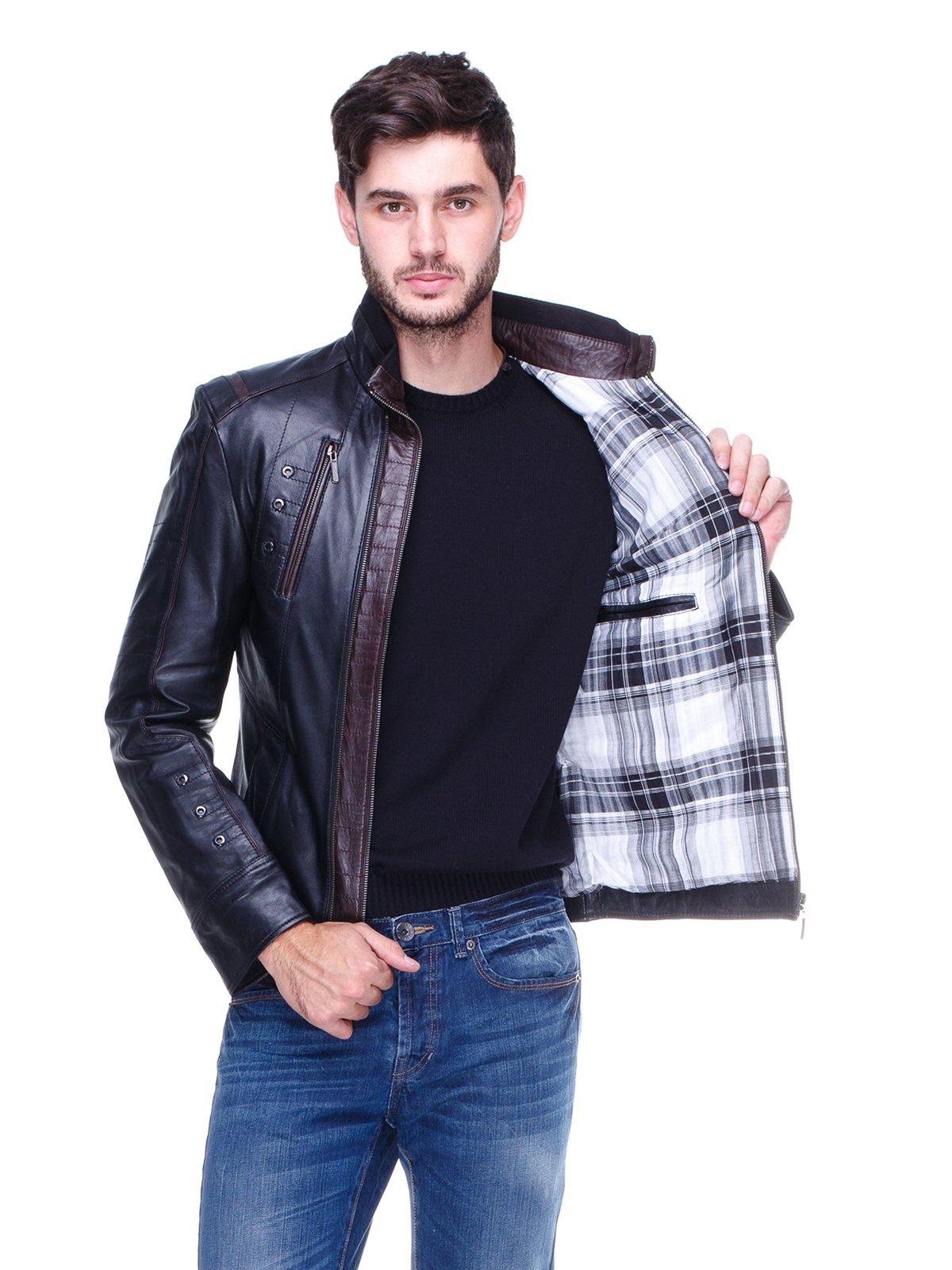 Куртка чорна з контрастним оздобленням і люверсами | 1830340 | фото 5