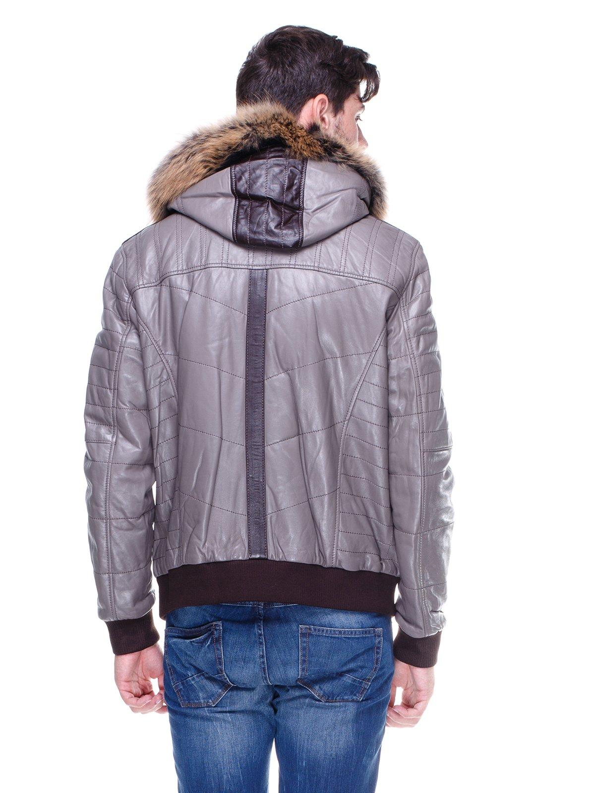 Куртка сіра з оздобленим хутром капюшоном   1830355   фото 2