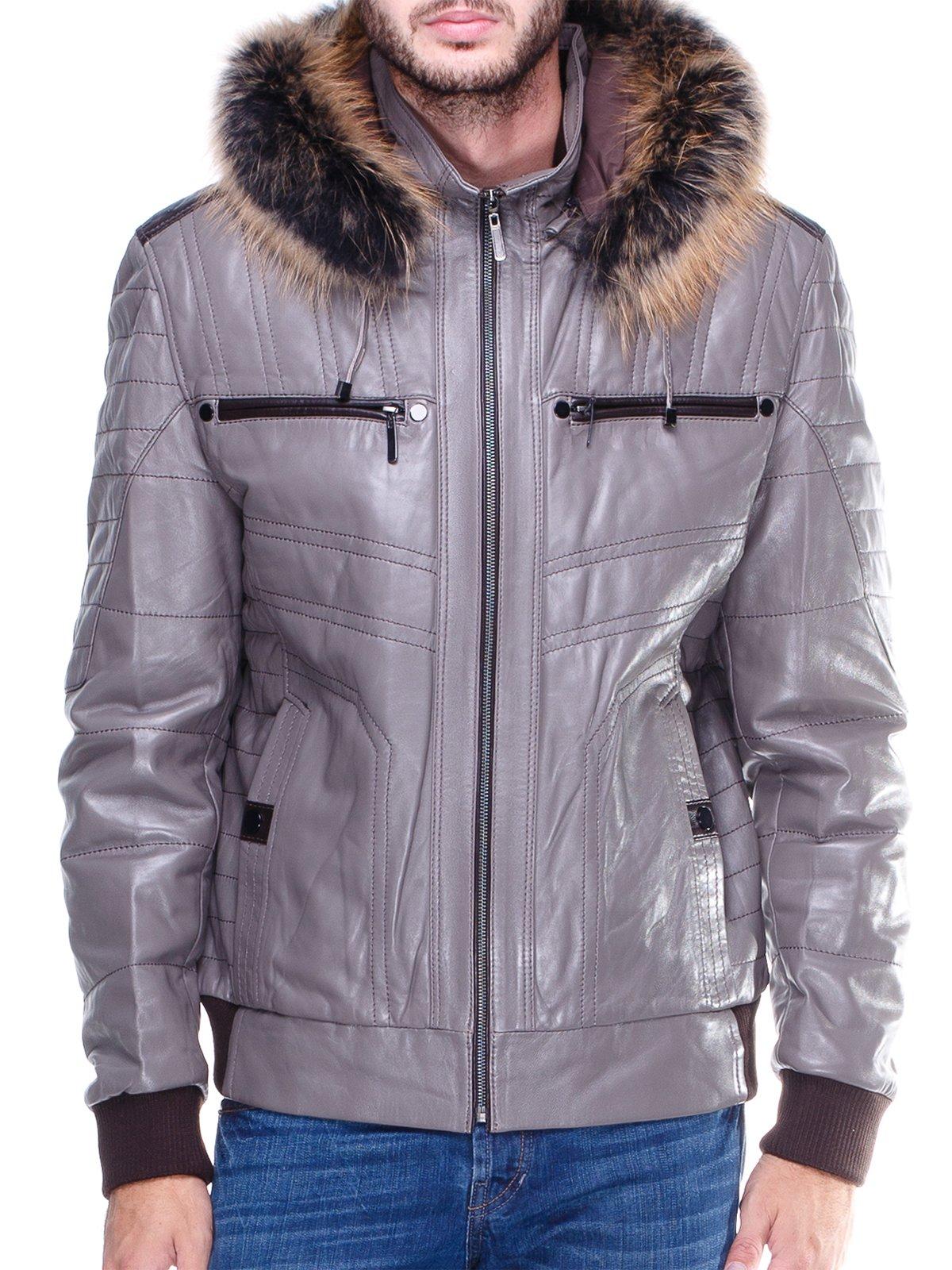 Куртка сіра з оздобленим хутром капюшоном   1830355   фото 3