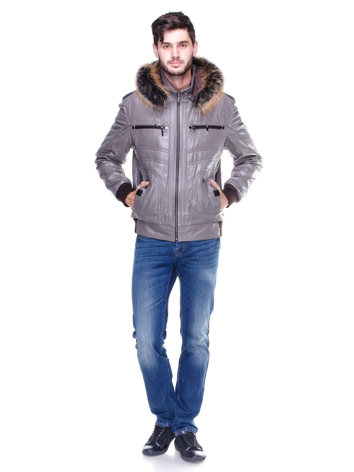Куртка сіра з оздобленим хутром капюшоном   1830355   фото 4