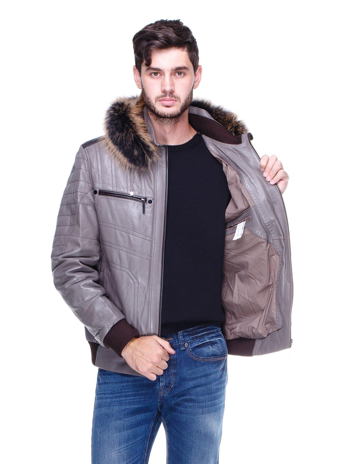Куртка сіра з оздобленим хутром капюшоном   1830355   фото 5