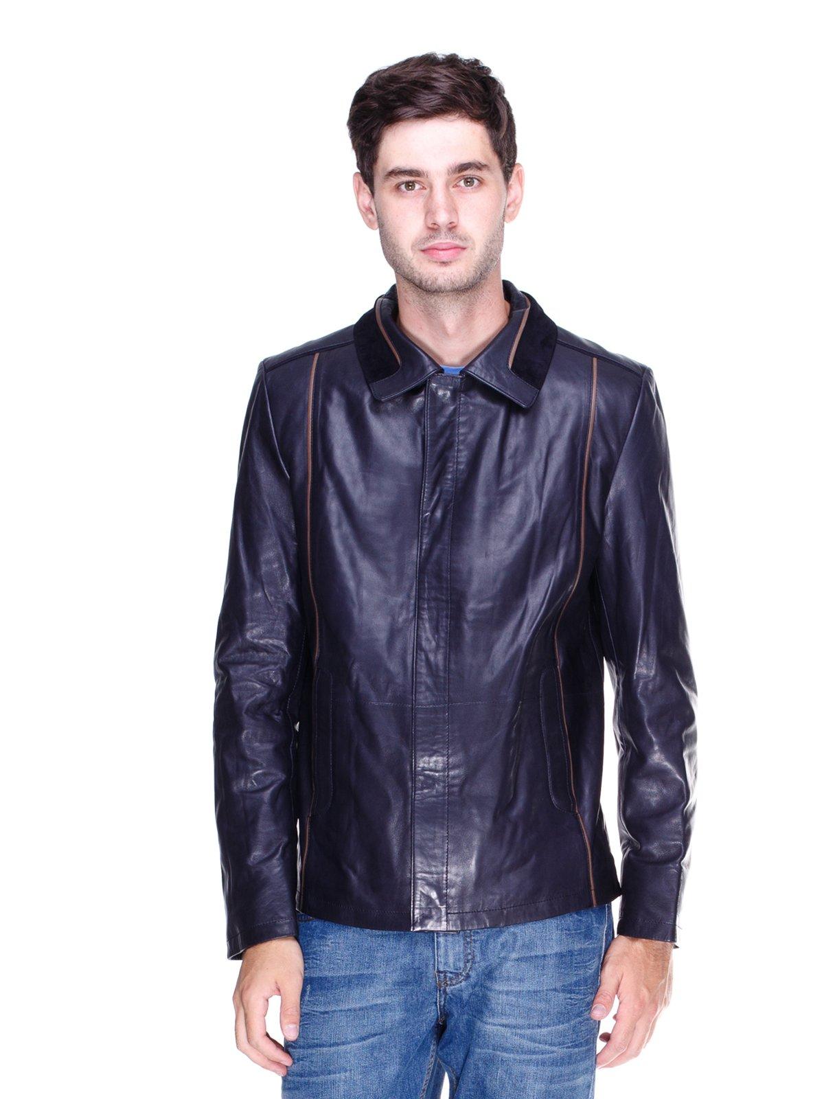 Куртка темно-синя з контрастним оздобленням | 1833609