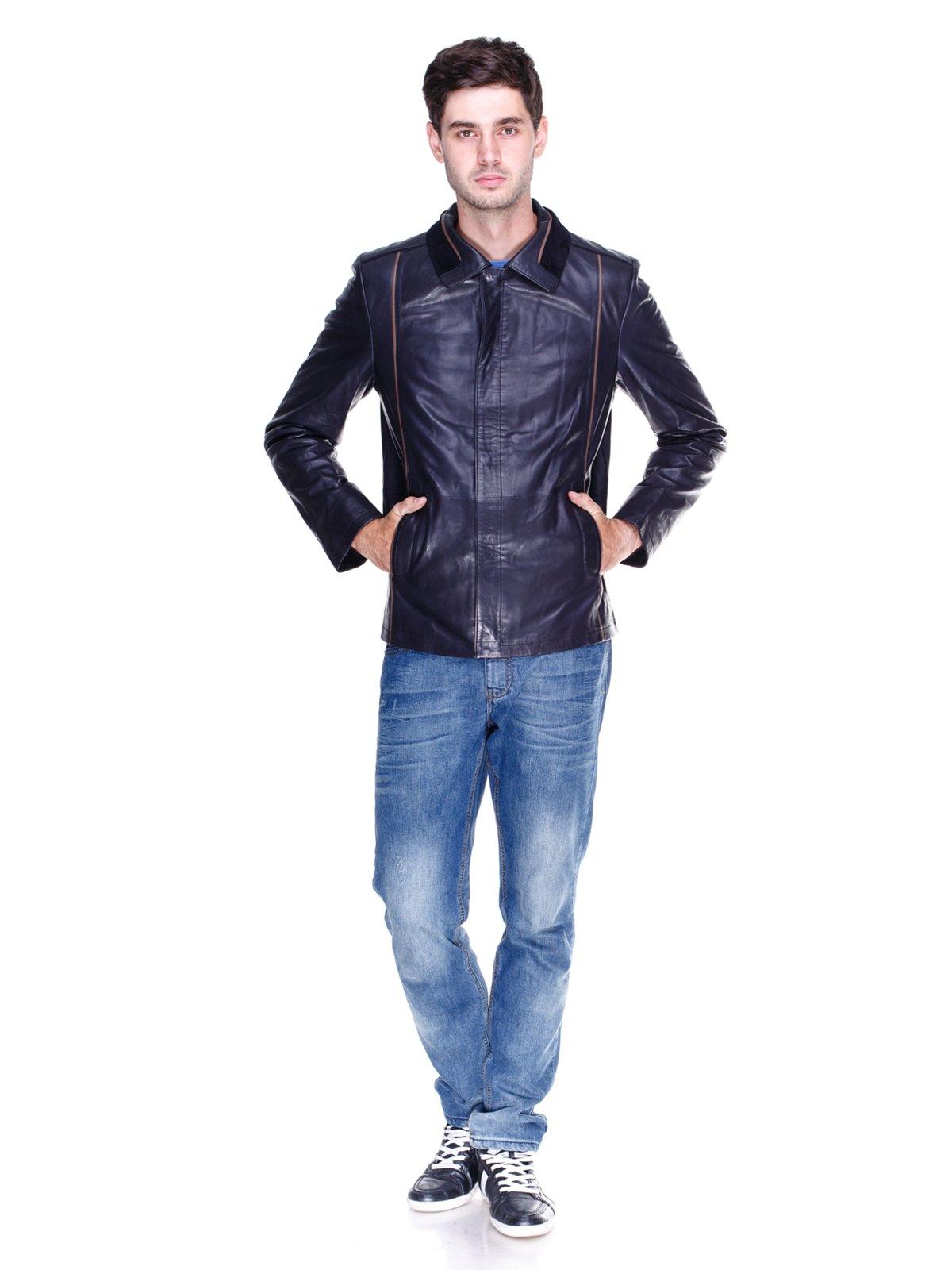 Куртка темно-синя з контрастним оздобленням | 1833609 | фото 4