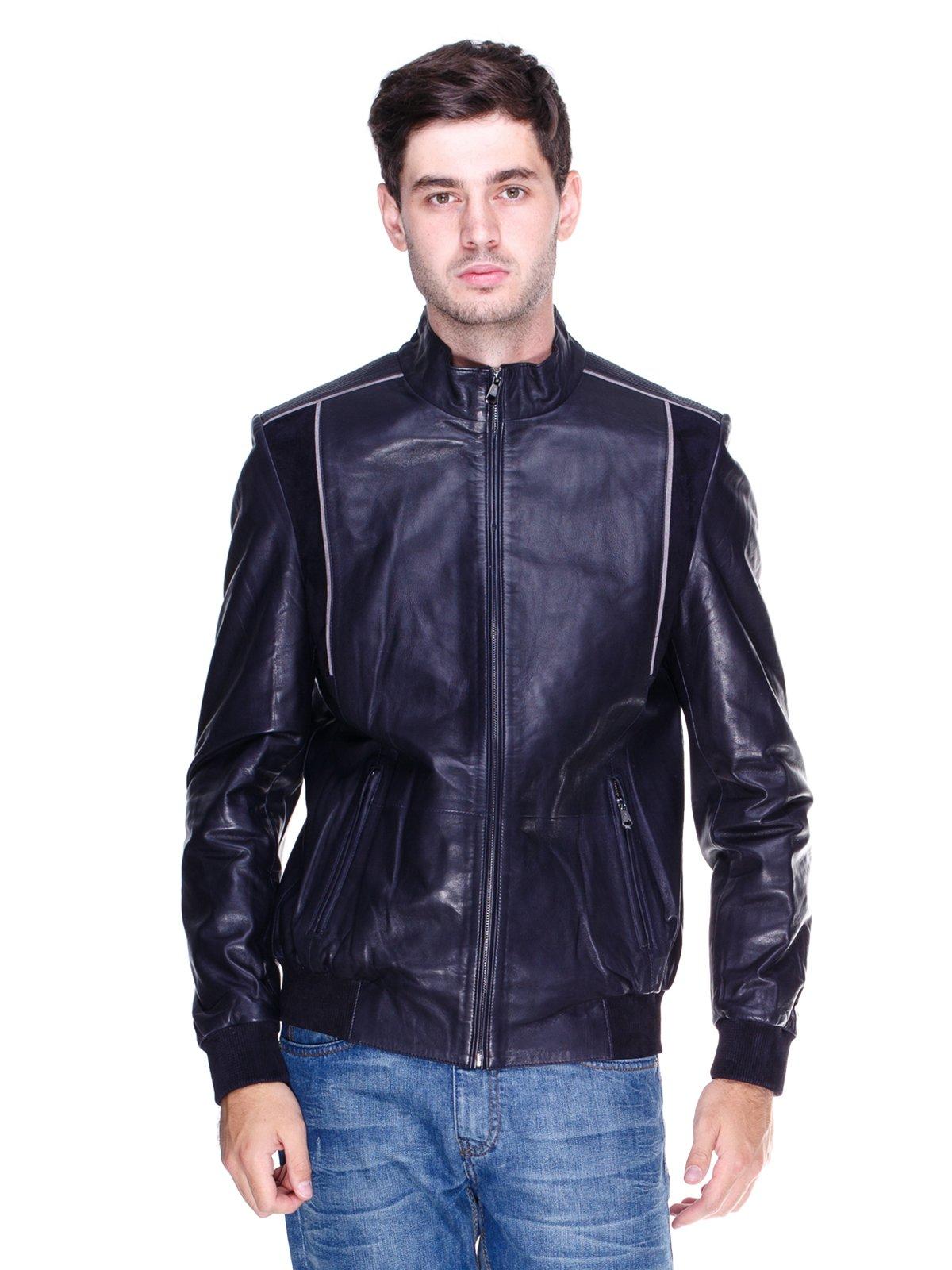 Куртка темно-синя з контрастним оздобленням | 1833610