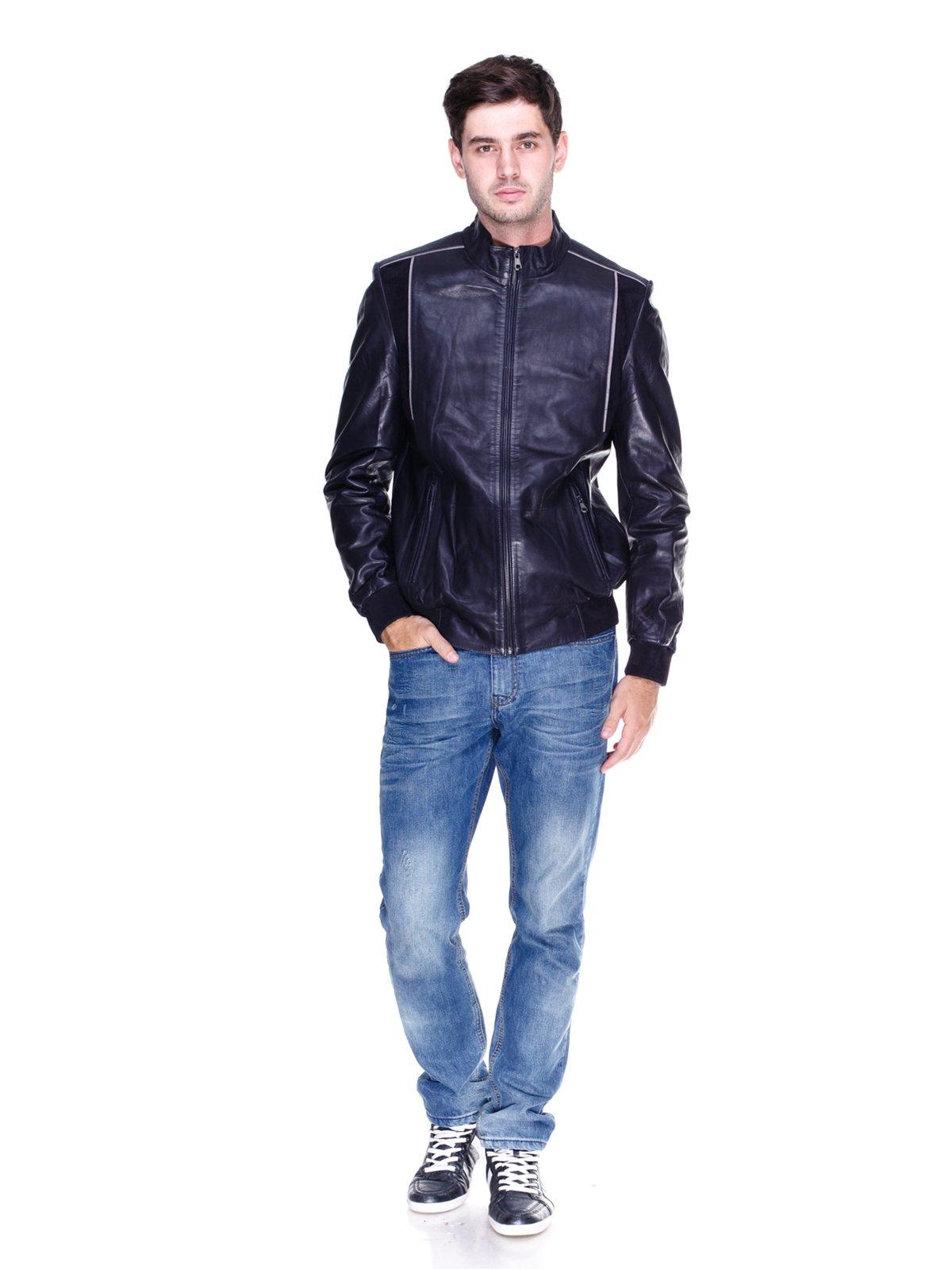 Куртка темно-синя з контрастним оздобленням | 1833610 | фото 4