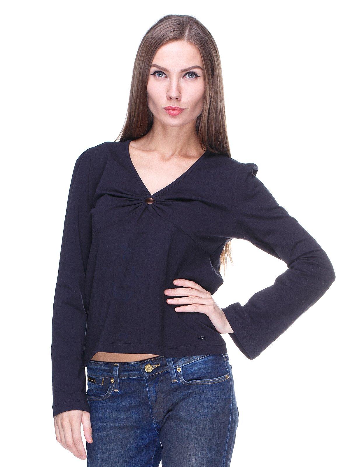 Пуловер черный со сборками на лифе | 65741