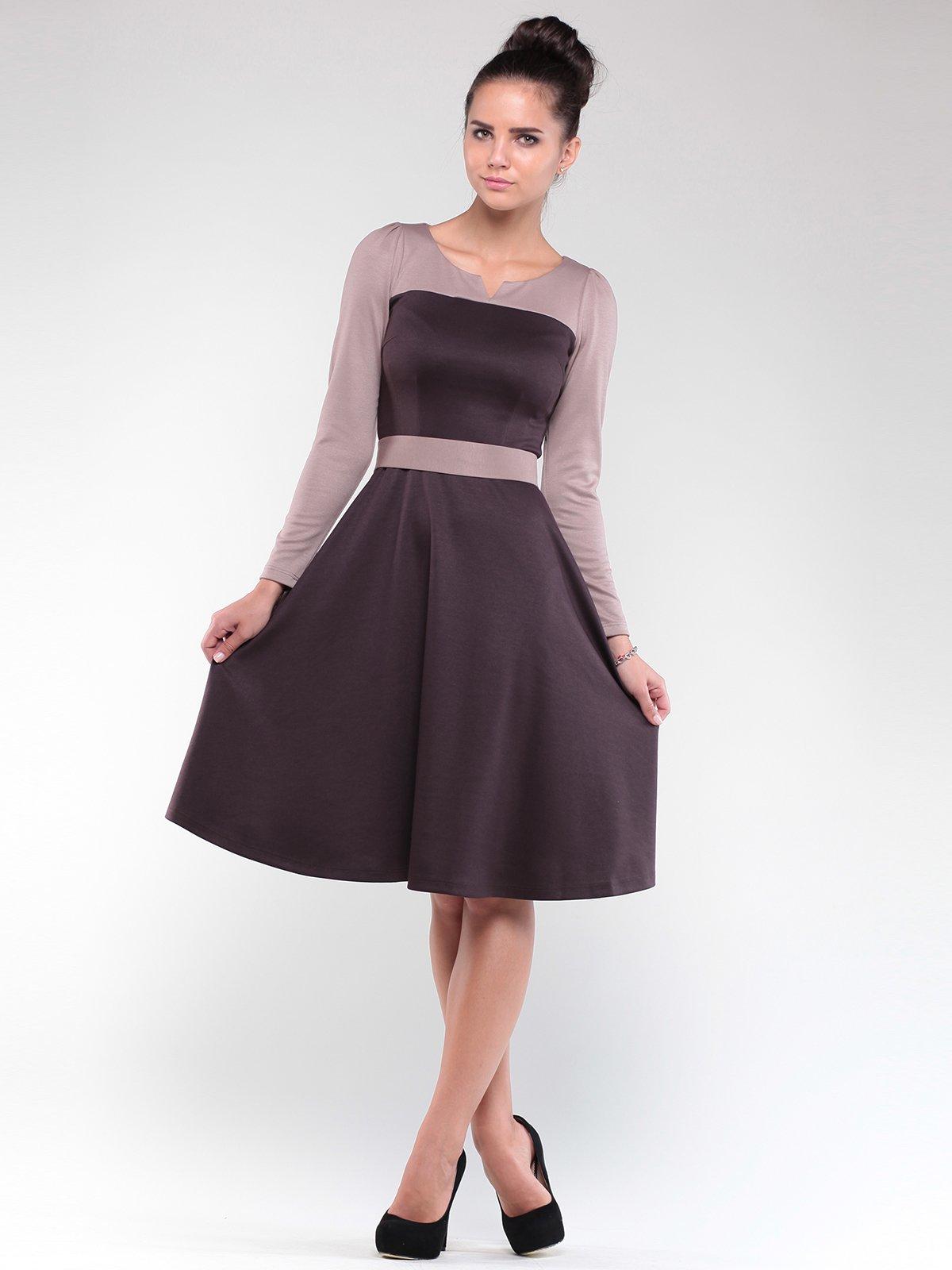 Платье коричнево-бежевое | 1840483