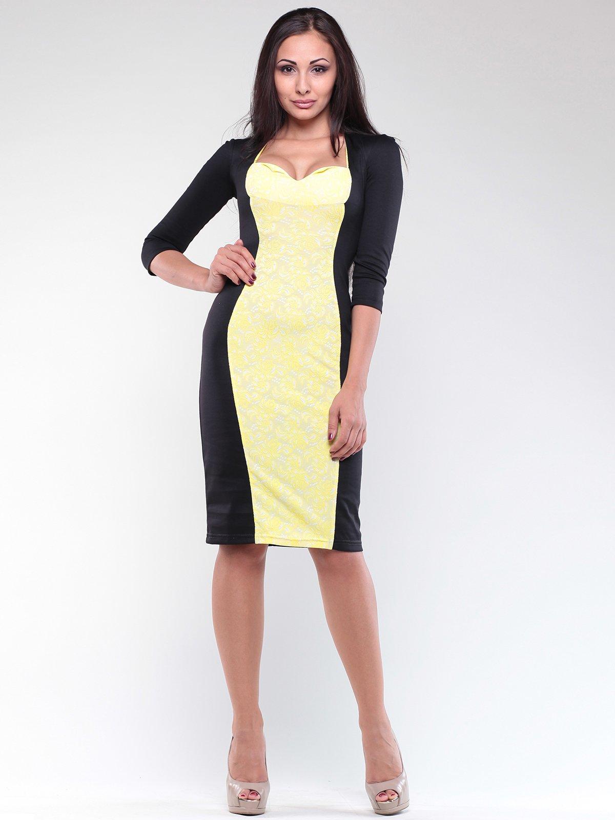 Сукня чорно-жовта з принтом | 1842219
