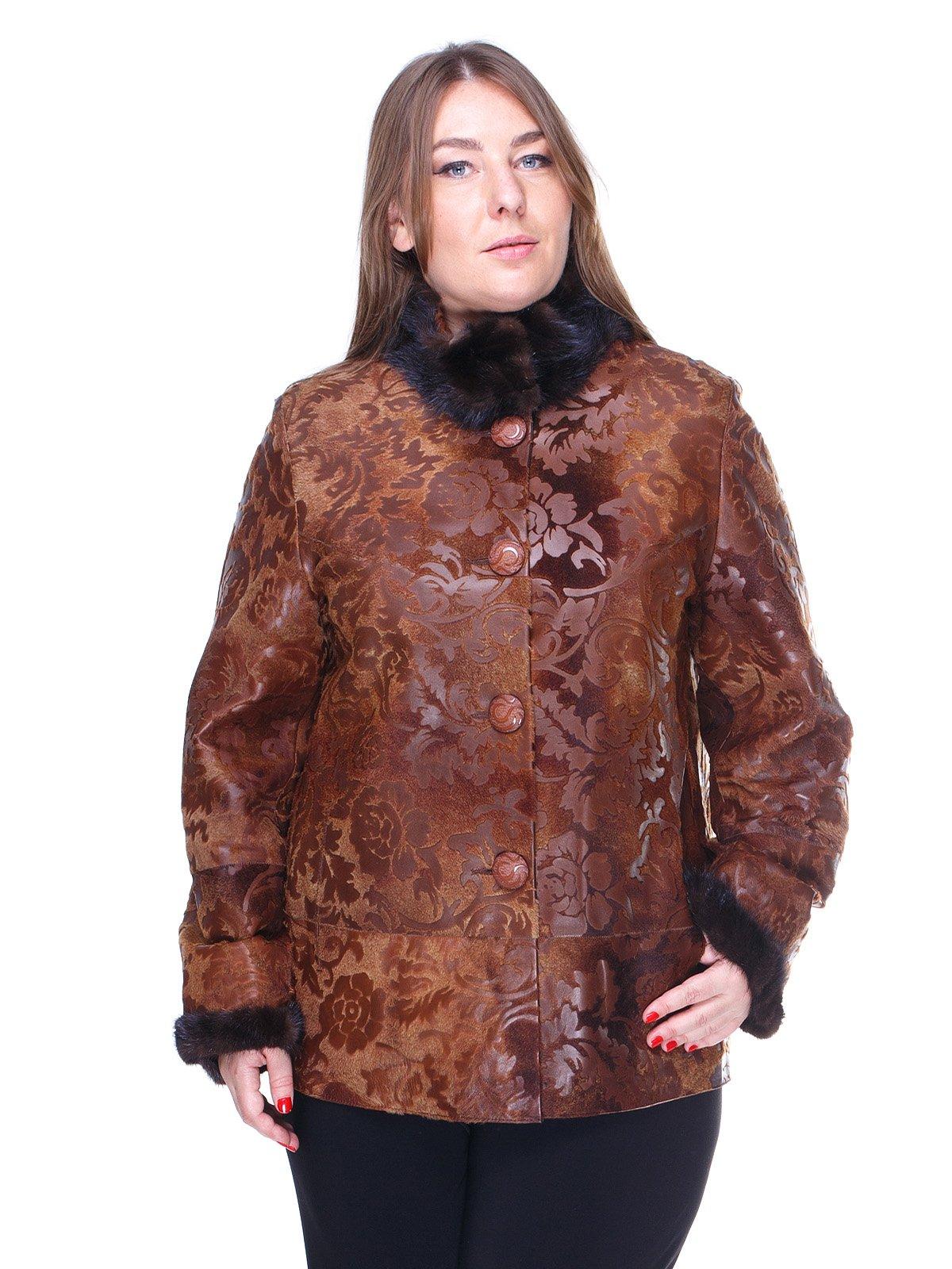 Куртка коричнева з квітковим малюнком   1848849